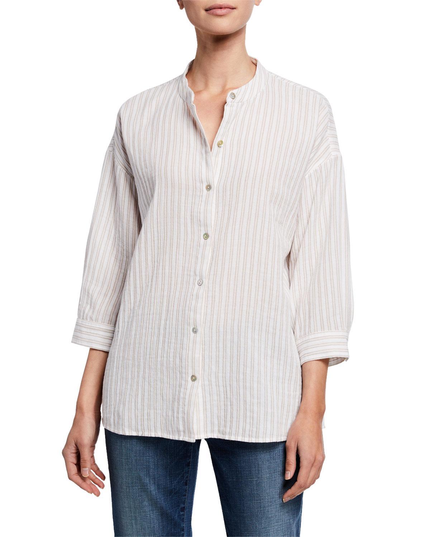 8d748e42 Eileen Fisher. Women's Striped Button-front 3/4-sleeve Cotton Gauze Shirt