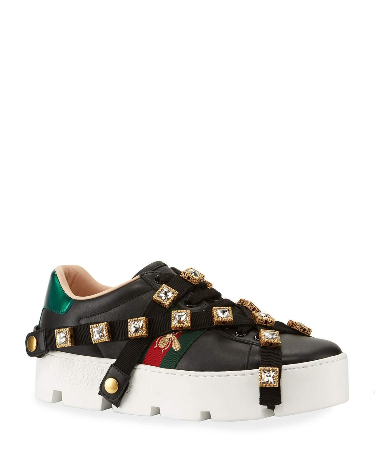 Gucci Ace Embroidered Platform Sneakers