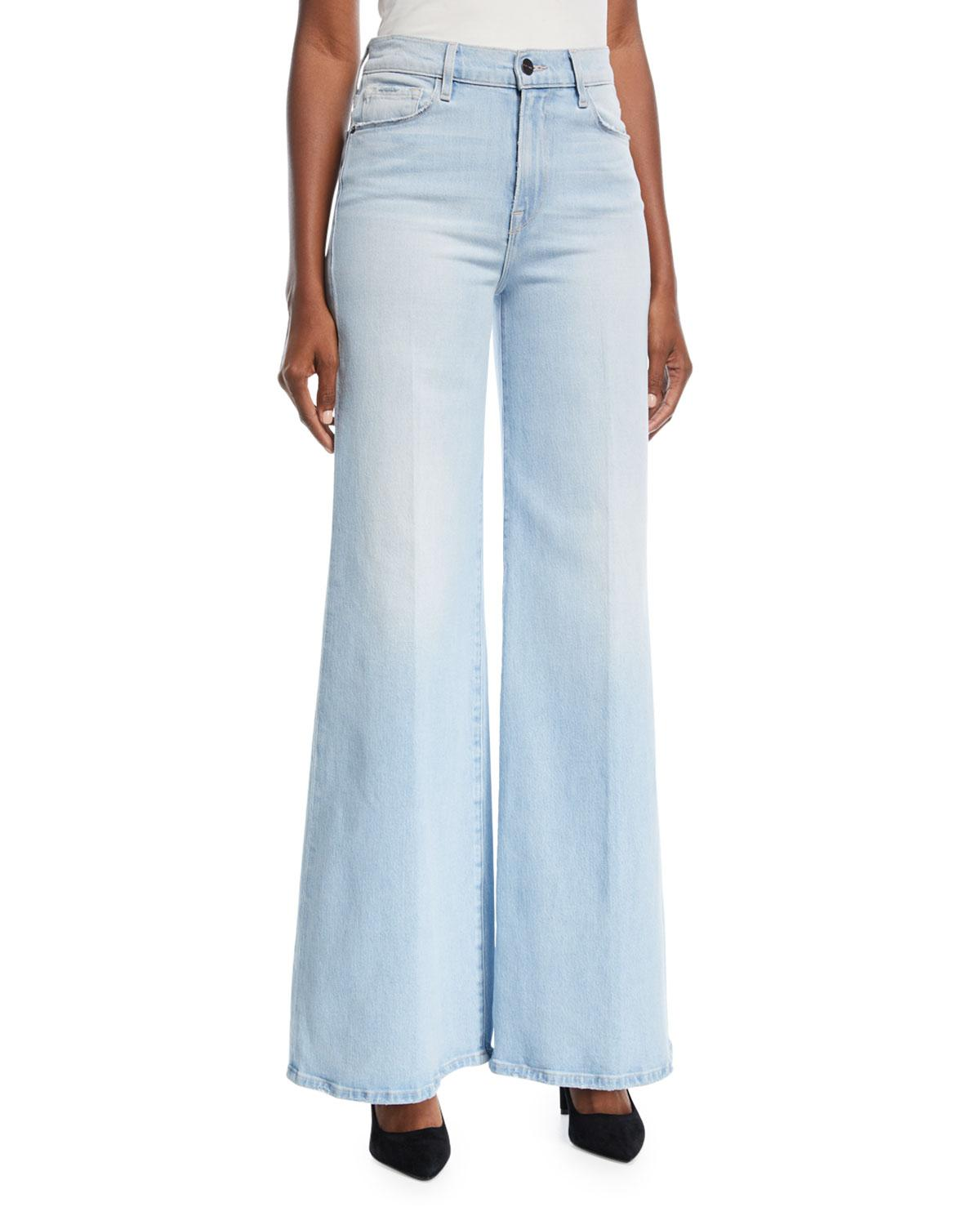 ad7a575bb1 Lyst - FRAME Le Palazzo High-rise Wide-leg Pants in Blue