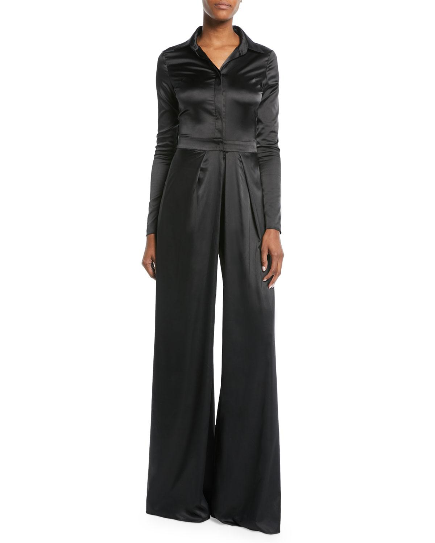 0c145dbdeb23 Alexis. Women s Black Burnette Split-leg Long-sleeve Jumpsuit.  394  197  From Neiman Marcus