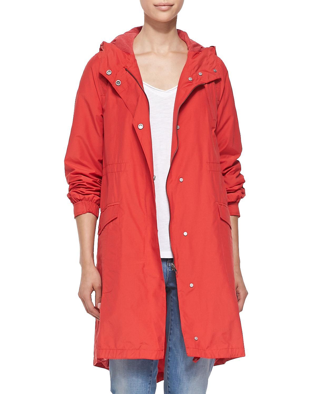 e7b710d78652d Eileen Fisher. Women s Red Hooded Long Anorak Jacket.  318  235 From Neiman  Marcus