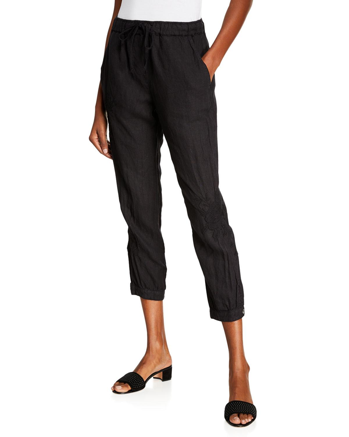 7f3fd5840a214 Lyst - Johnny Was Sadie Straight-leg Linen Jogger Pants in Black