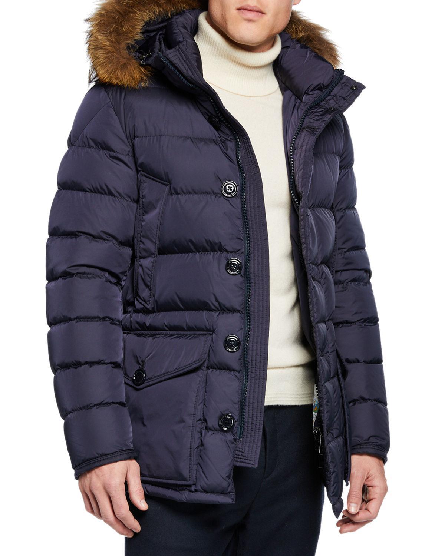 b19ccae041a3 Lyst - Moncler Men s Cluny Fur-trim Puffer Coat in Blue for Men
