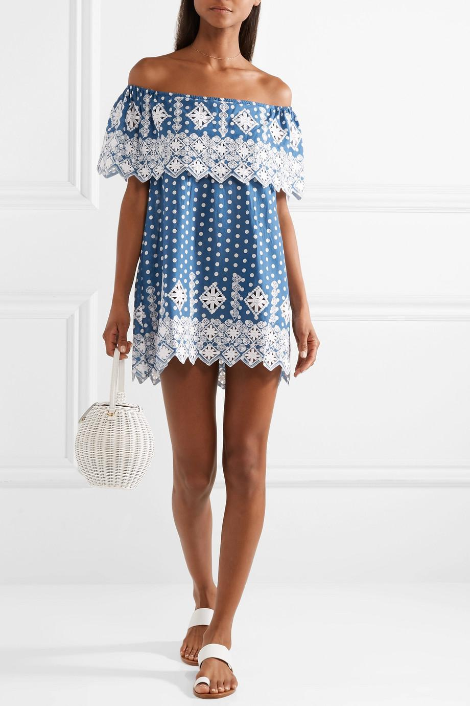 Agnes Off-the-shoulder Crocheted Polka-dot Cotton-voile Mini Dress - Cobalt blue Miguelina Ebay Cheap Price ol74rGy9A