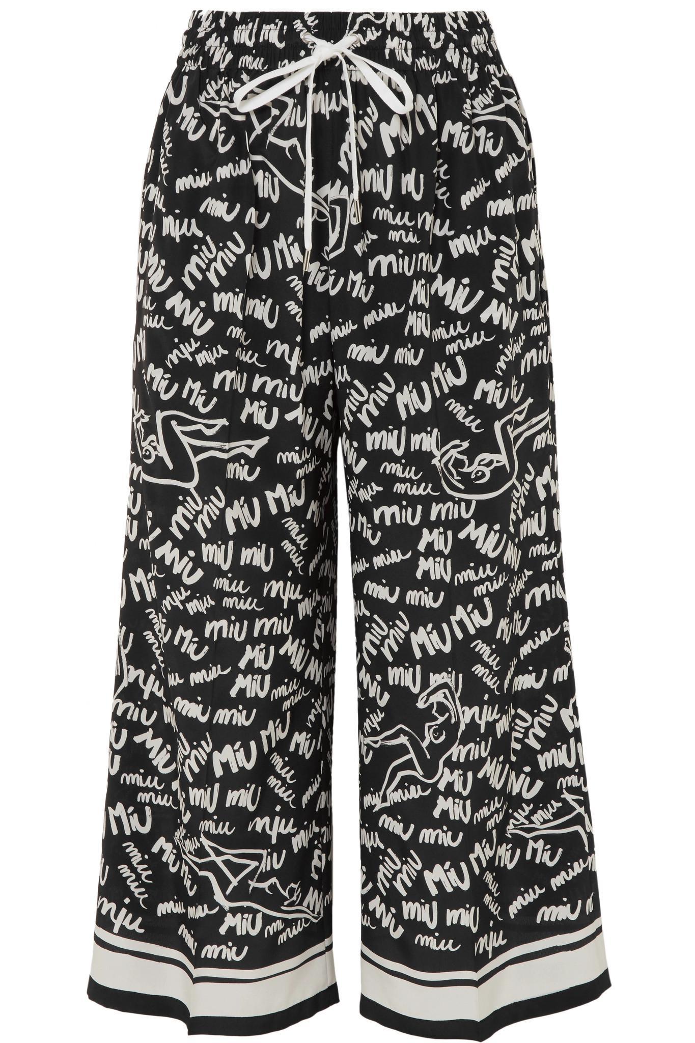 Printed Crepe Wide-leg Pants - Black Miu Miu Buy Cheap Brand New Unisex Discount Wide Range Of For Cheap Discount Buy Cheap Free Shipping Pre Order Sale Online 4S60t