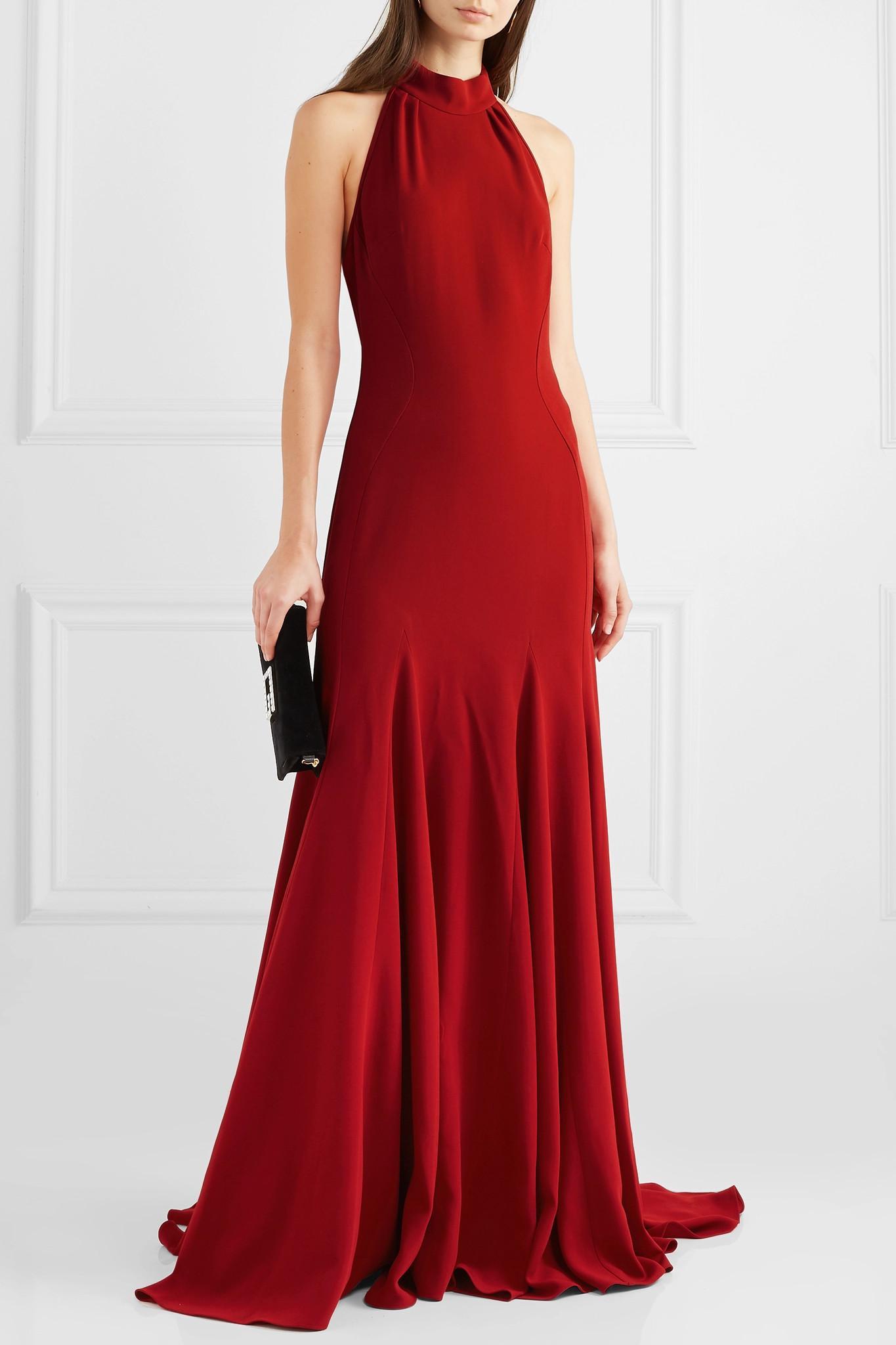 e17e09c57ea8 Stella McCartney - Red Stretch-crepe Halterneck Gown - Lyst. View fullscreen
