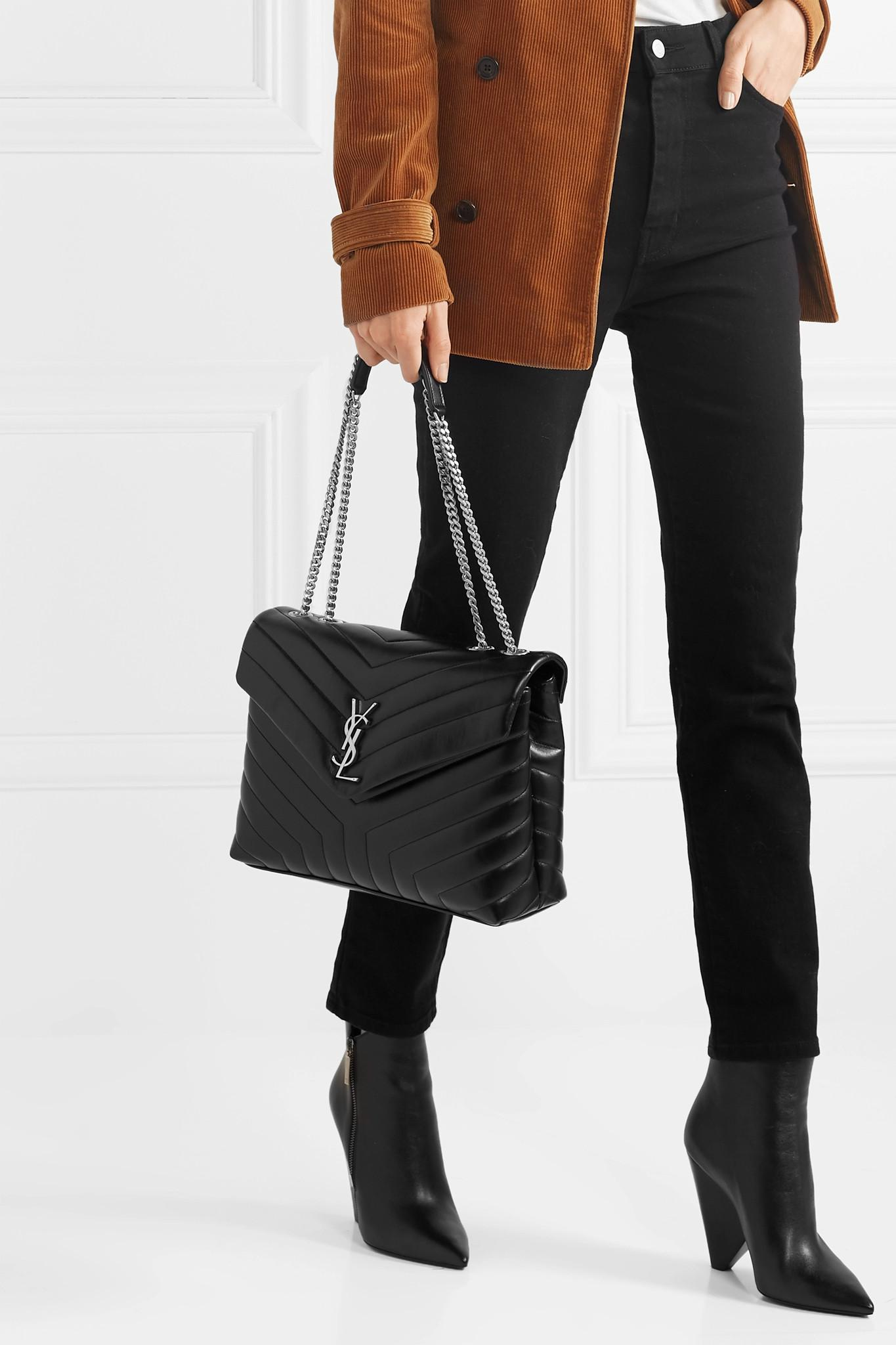 e1a2dbcc28a Saint Laurent - Black Loulou Medium Quilted Leather Shoulder Bag - Lyst.  View fullscreen