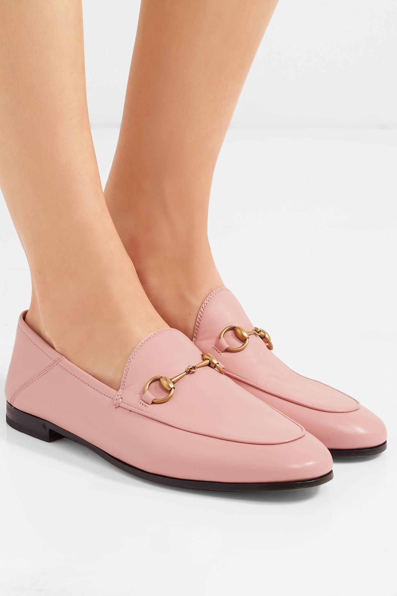 2a0f31e29c9 Gucci - Pink Brixton Horsebit-detailed Leather Collapsible-heel Loafers -  Lyst. View fullscreen