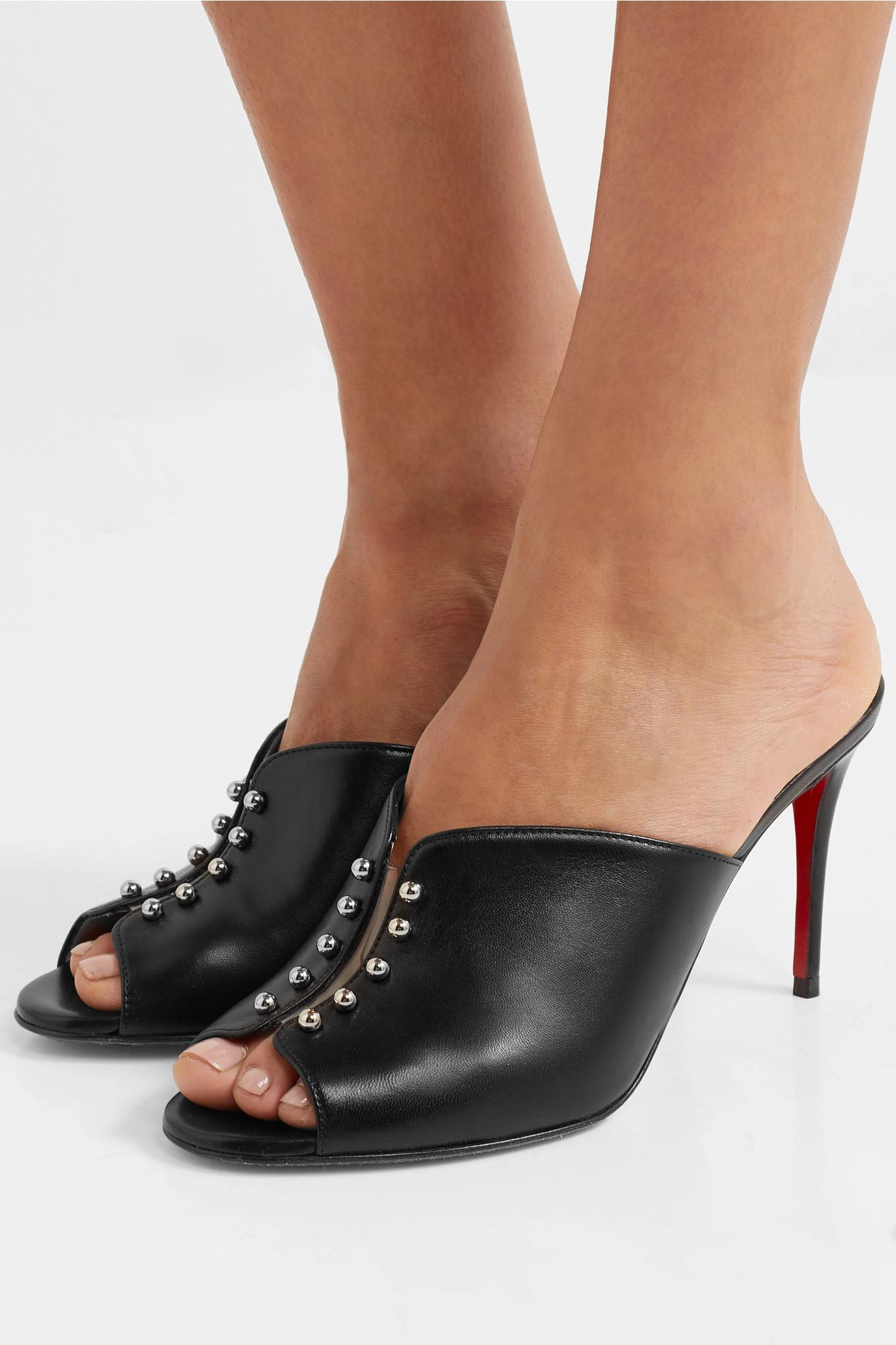 a4922e286f0e Christian Louboutin - Black Predumule 85 Studded Leather Mules - Lyst. View  fullscreen