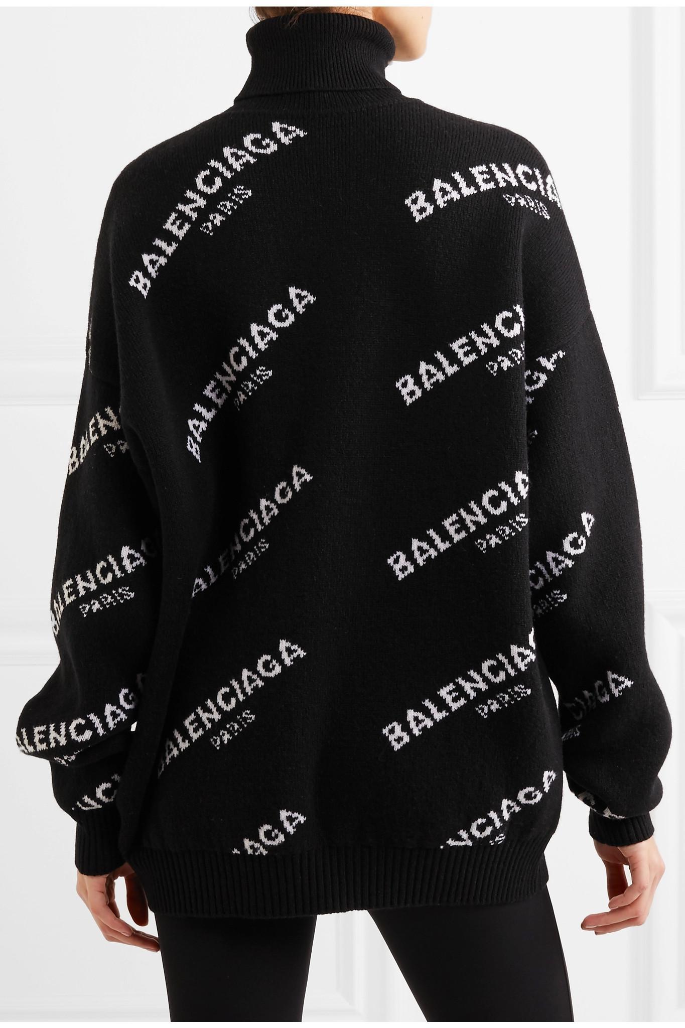 Balenciaga Oversized Intarsia Wool blend Turtleneck