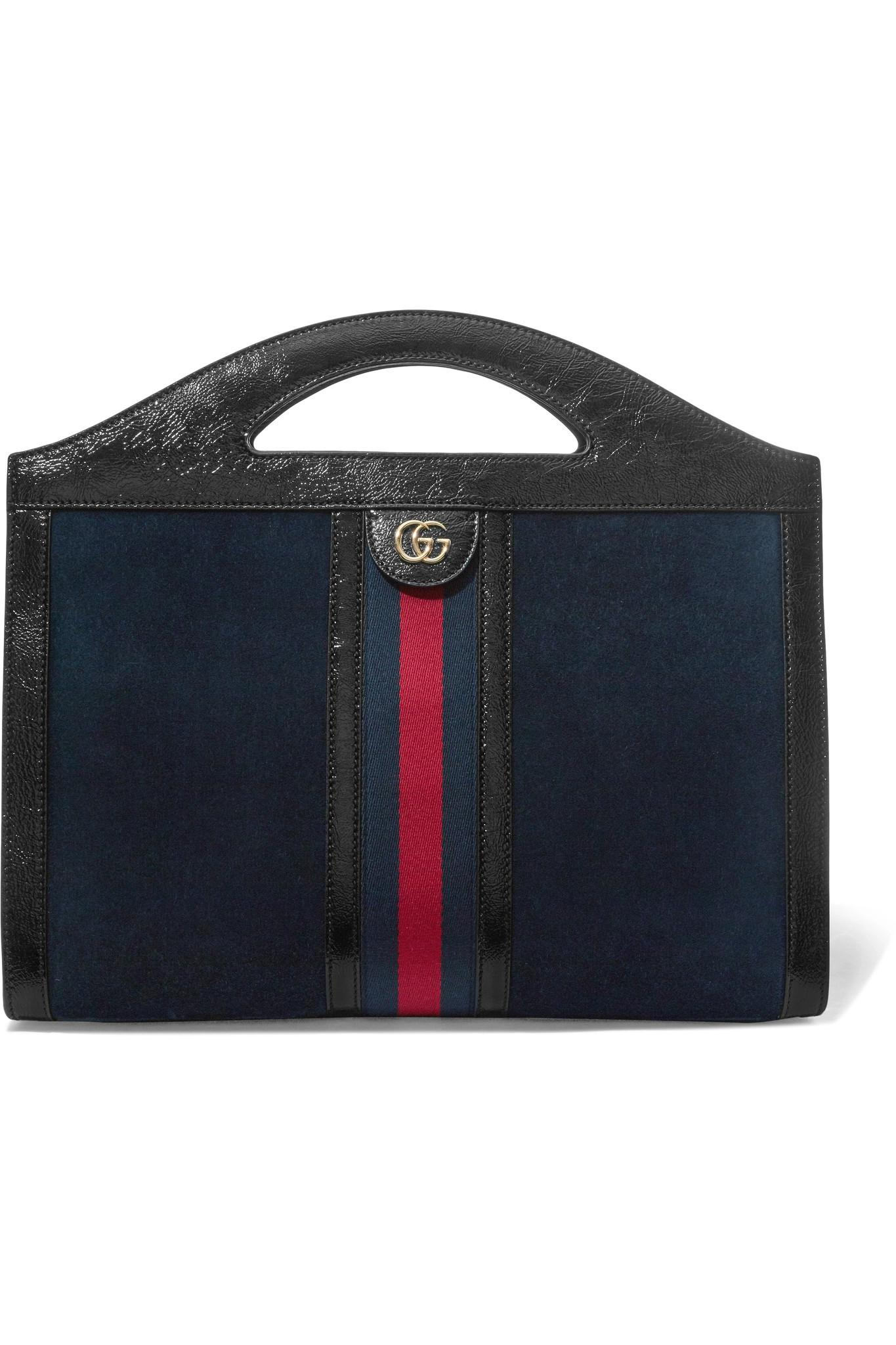 7e3faf32a0e5 Gucci Ophidia Patent Leather-trimmed Suede Tote in Blue - Lyst