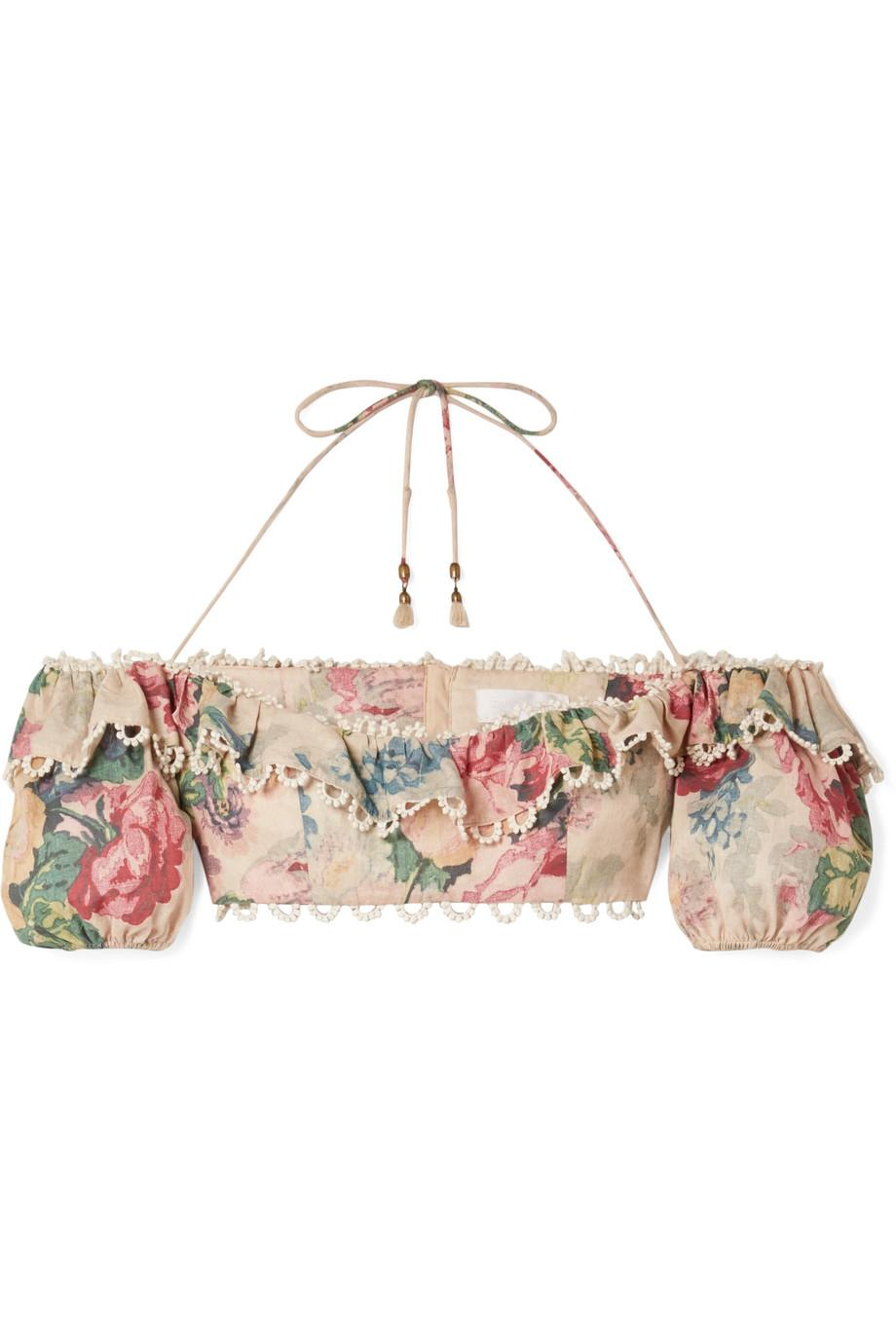 Melody Cropped Crochet-trimmed Floral-print Cotton-blend Top - Beige Zimmermann Deals Sale Online VNgkCY5U4