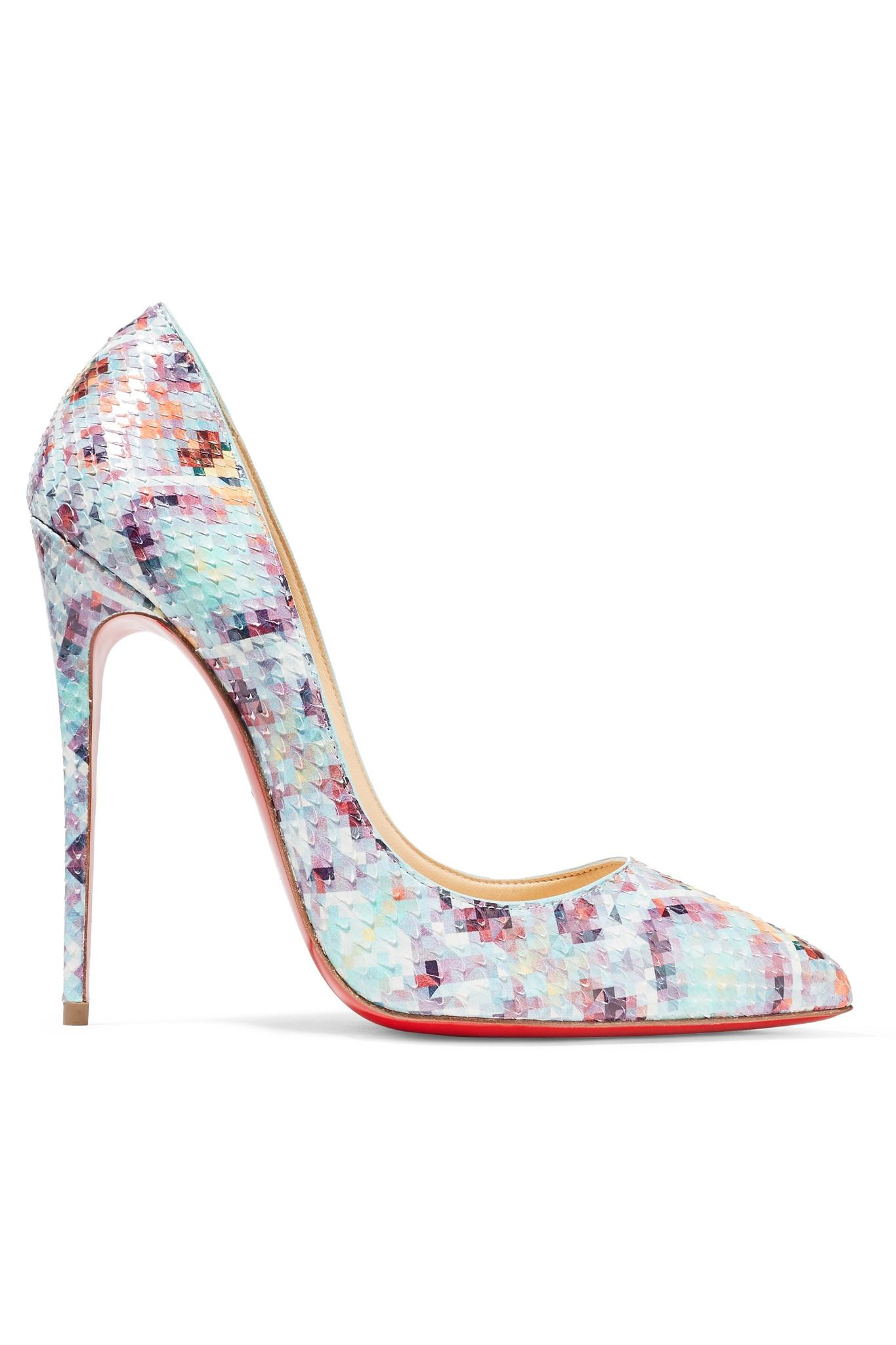 f27bd75f65b9 Lyst - Christian louboutin Pigalle Follies Printed Snakeskin Court Shoes in  Blue