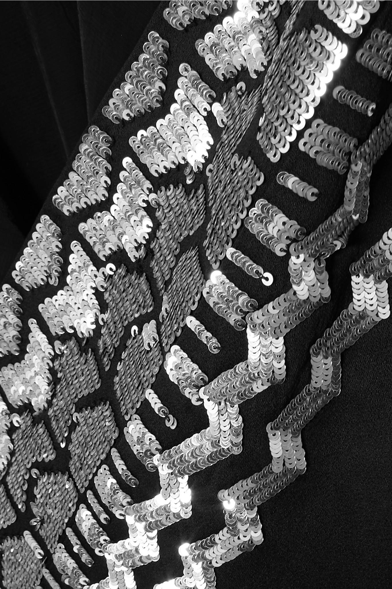 Crêpe London À Kimono Lyst Noir En Sequins Satiné Temperley Coloris mONnv80w