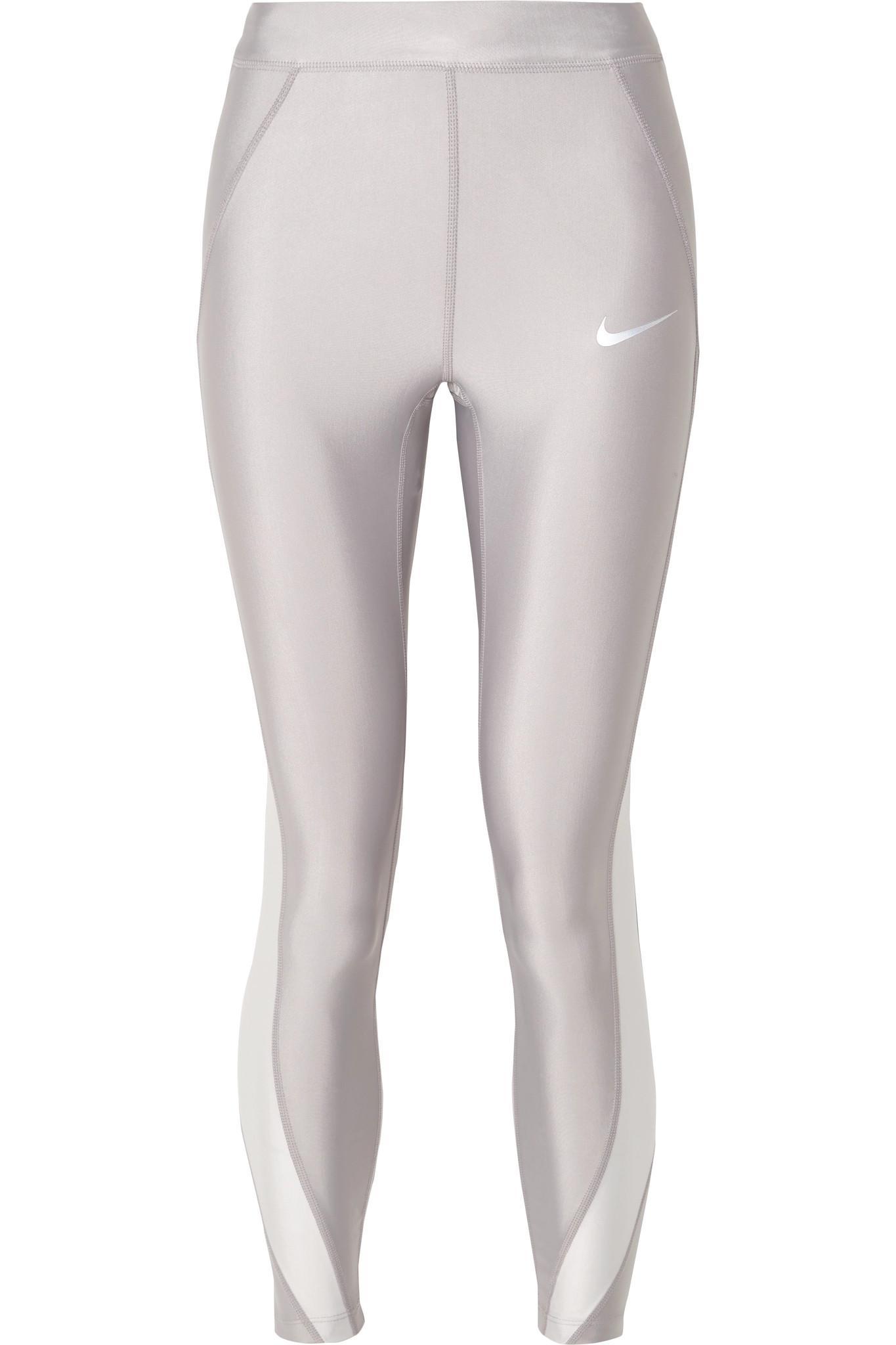 78b976ed4ed20 Nike. Women's Speed Cropped Panelled Metallic Dri-fit Stretch Leggings