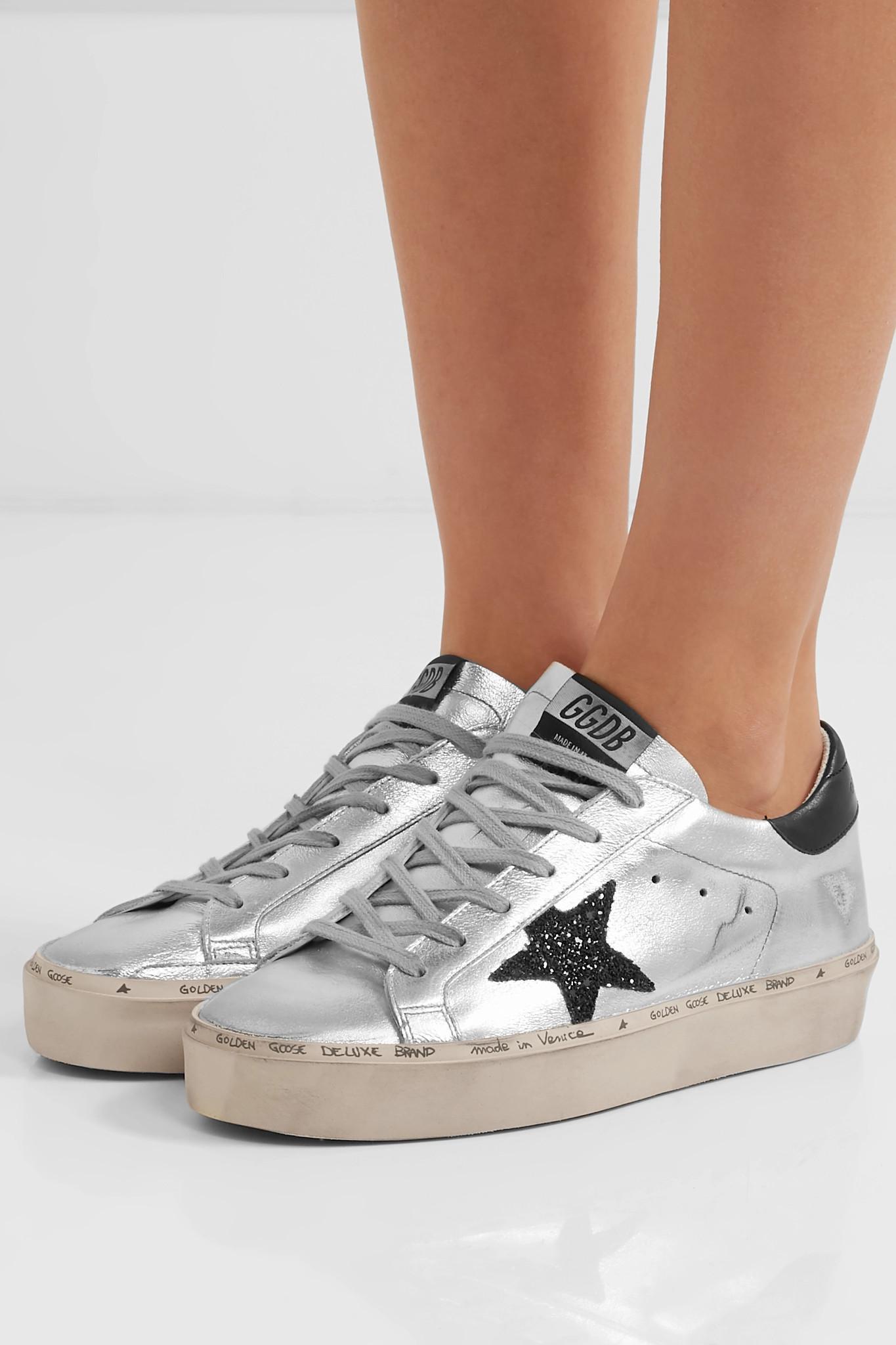 aa5772c9d187 ... Hi Star Glittered Distressed Metallic Leather Platform Sneakers - Lyst.  View fullscreen