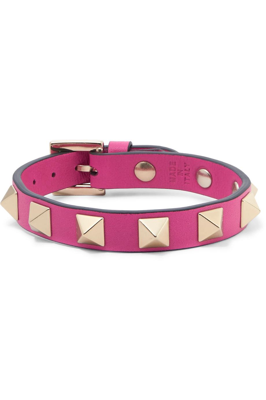 Valentino Garavani The Rockstud Leather And Gold-tone Bracelet - Pastel pink Valentino app1p