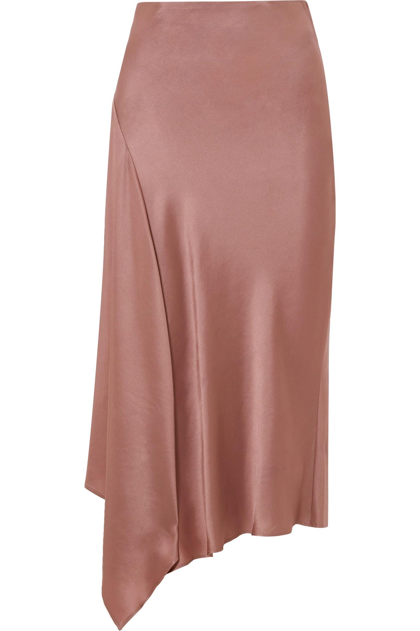 f466042547 Brunello Cucinelli Asymmetric Satin Midi Skirt in Pink - Lyst