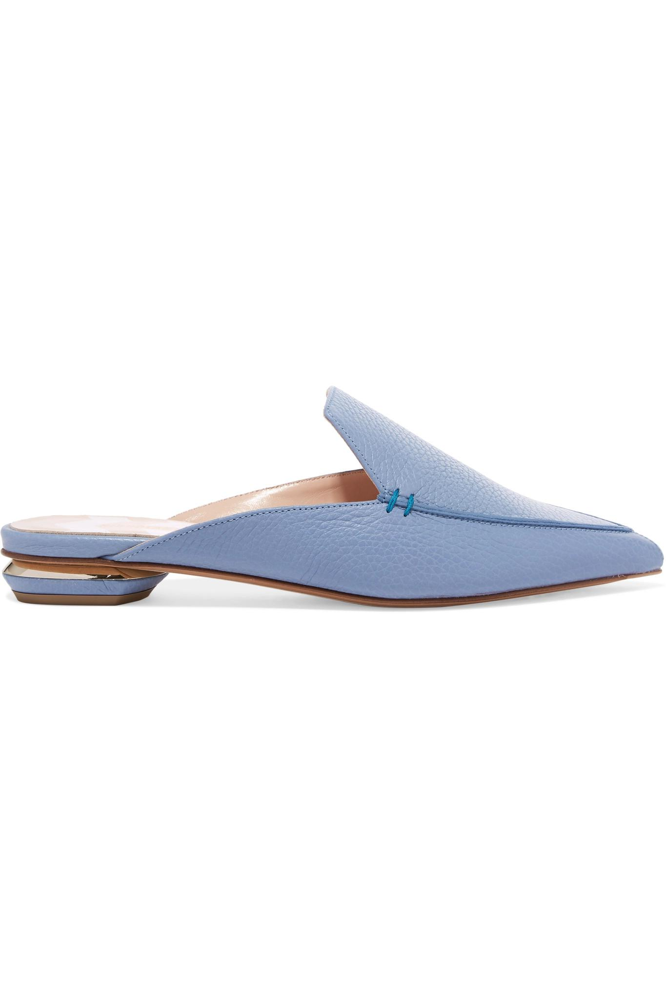 Beya Textured-leather Slippers - Sky blue Nicholas Kirkwood Cheap Price Outlet RMe3B