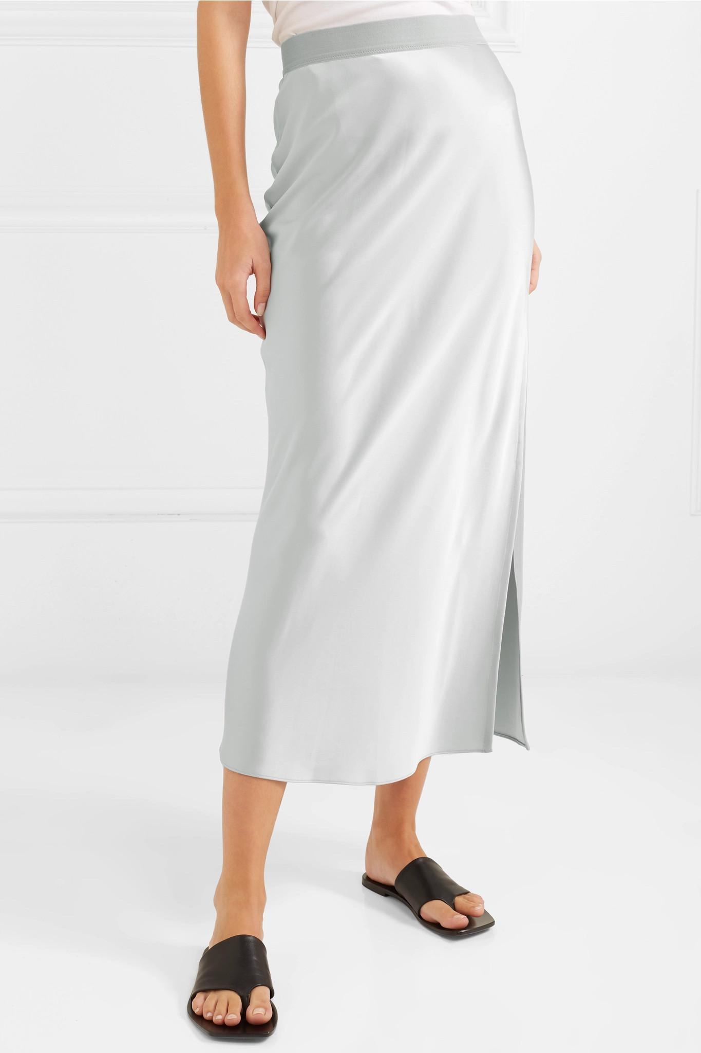 478f039ce15fde Theory Satin Maxi Skirt in Metallic - Lyst
