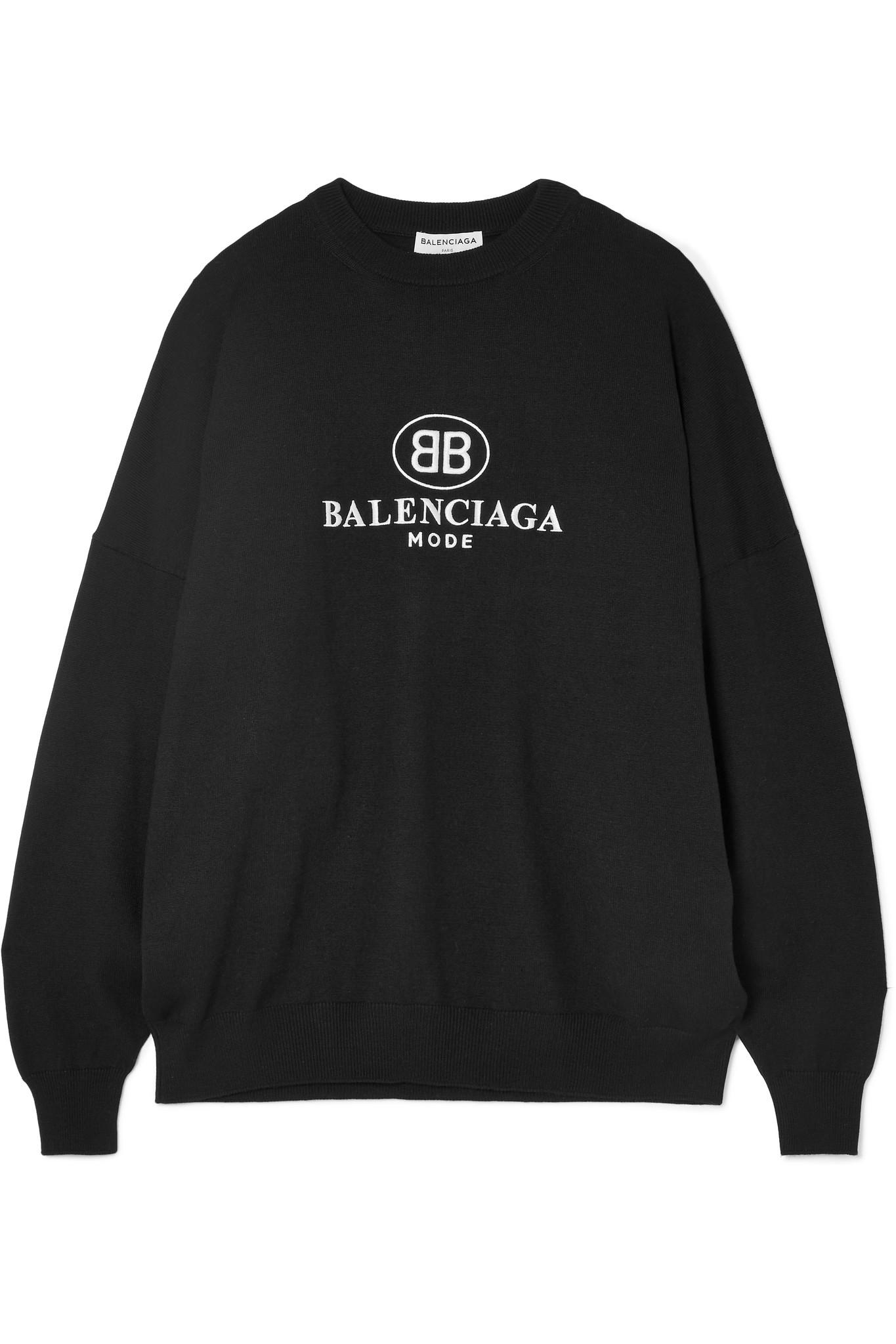 À Broderies Pull Mélangée Laine En Noir Balenciaga UxdII 6c20fb85ea6