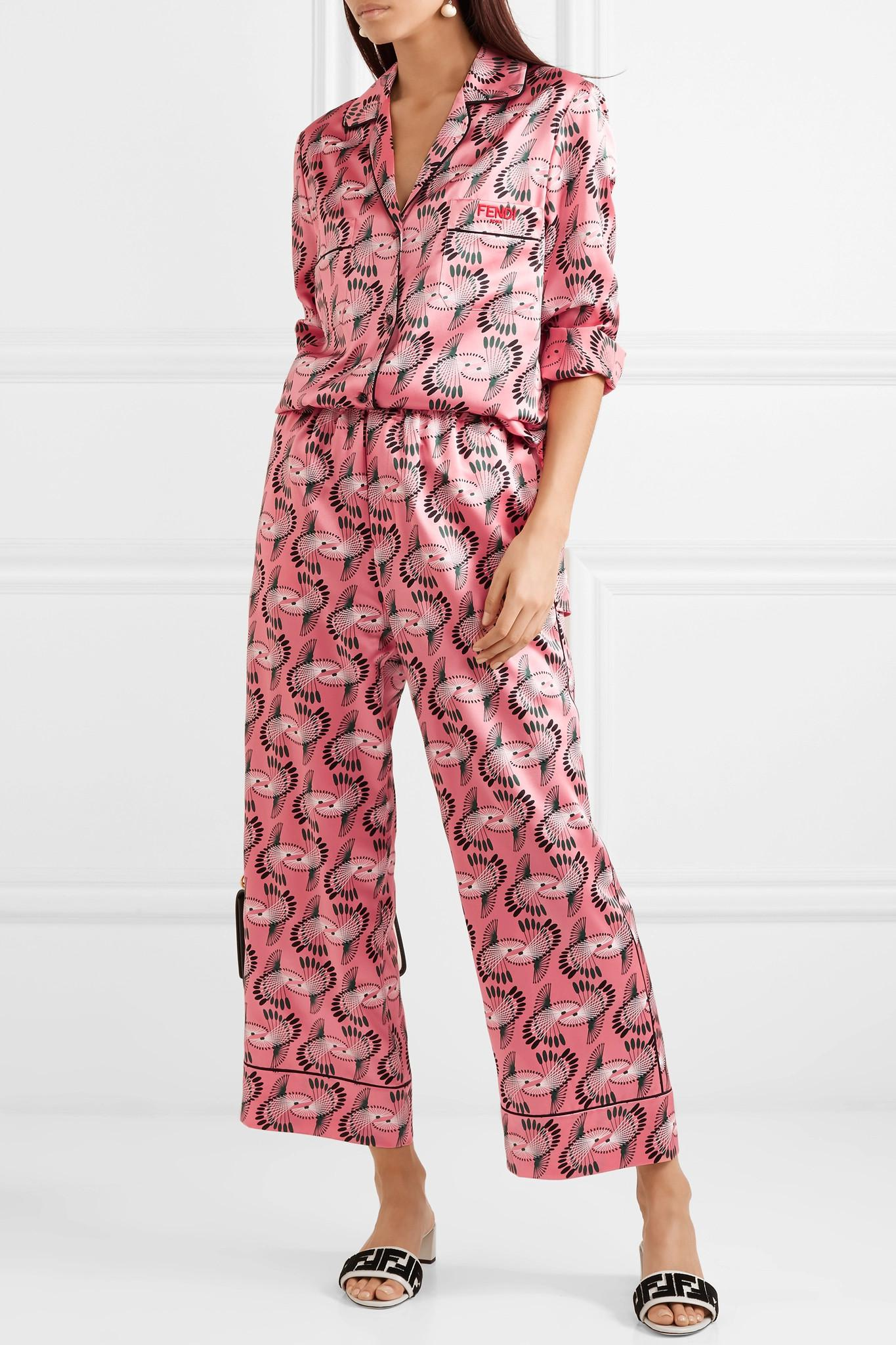 Imprimé Pantalon Large Jambe Soie Satin - Fendi Rose mGX1Z