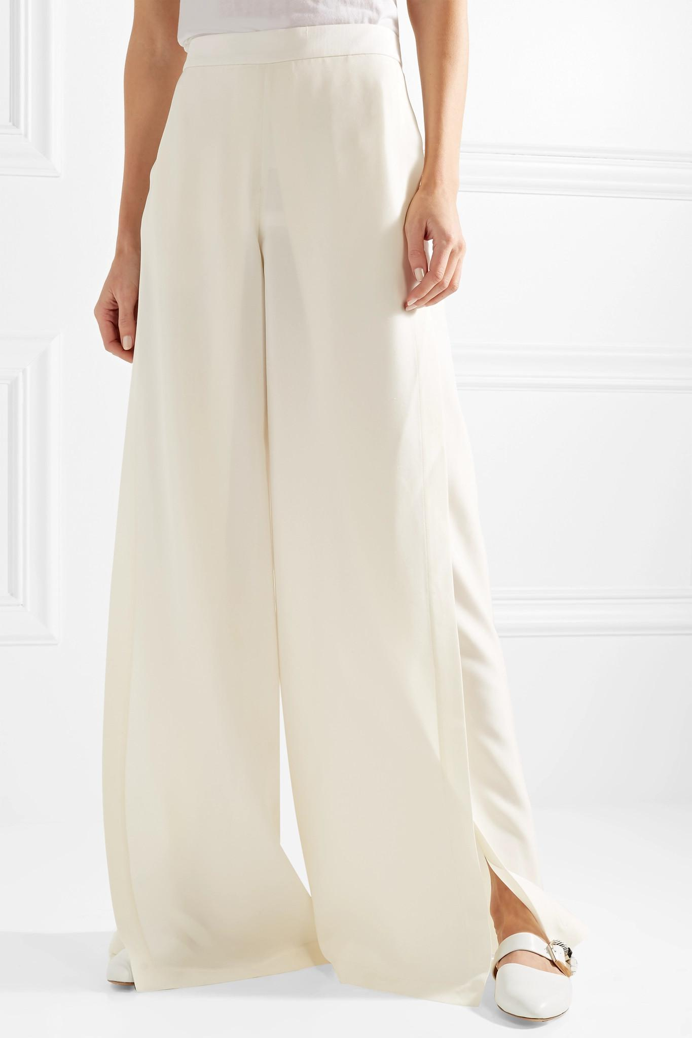 Crepe Wide-leg Pants - Off-white Rosetta Getty HAvvCa