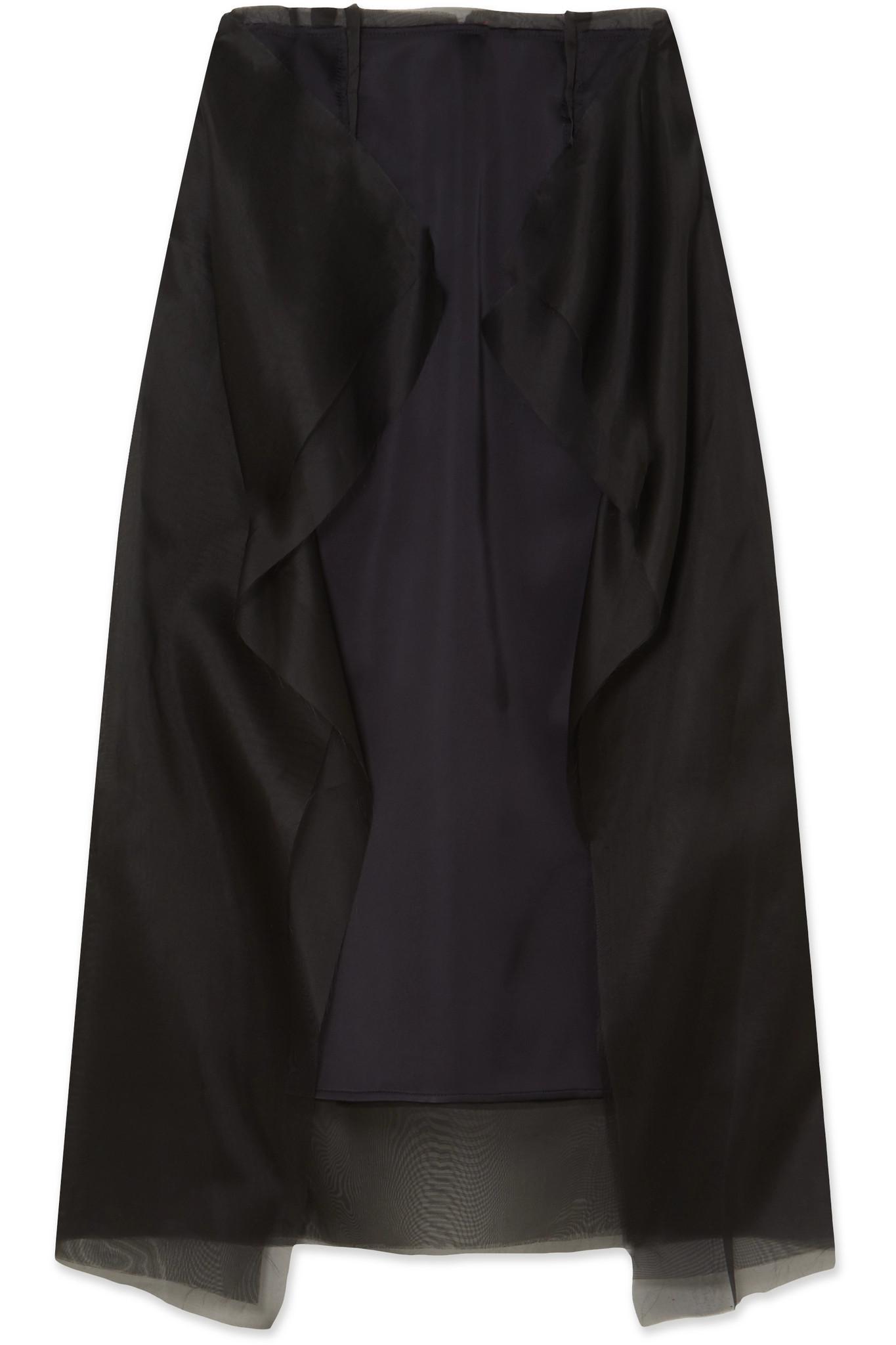 Maison Margiela. Women's Black Ruffled Satin And Silk-organza Midi Skirt
