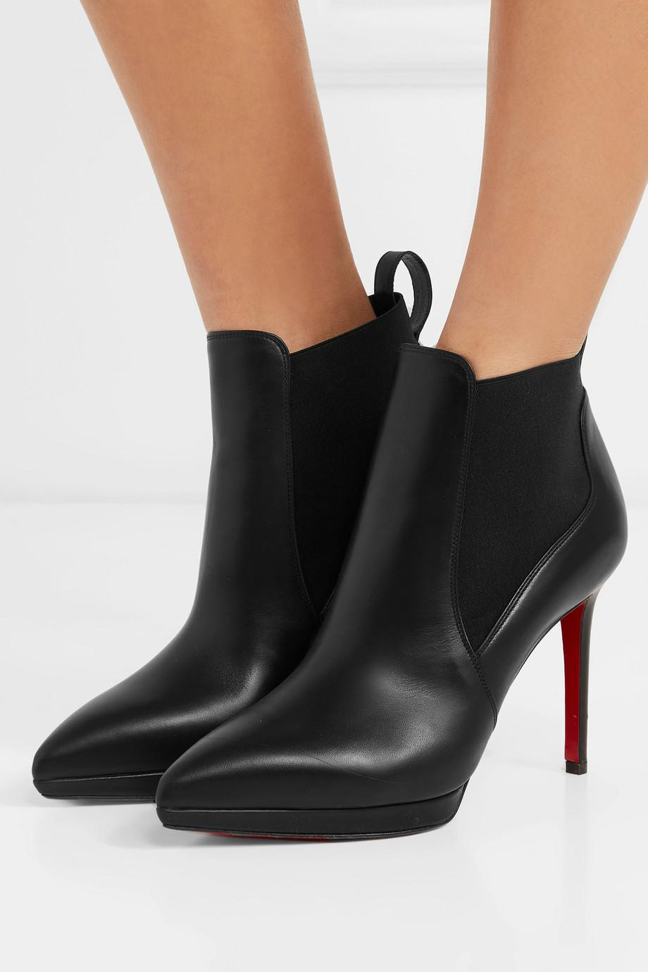 7a71e3002c91 ... top quality christian louboutin black crochinetta 100 leather ankle  boots lyst. view fullscreen 04279 08722