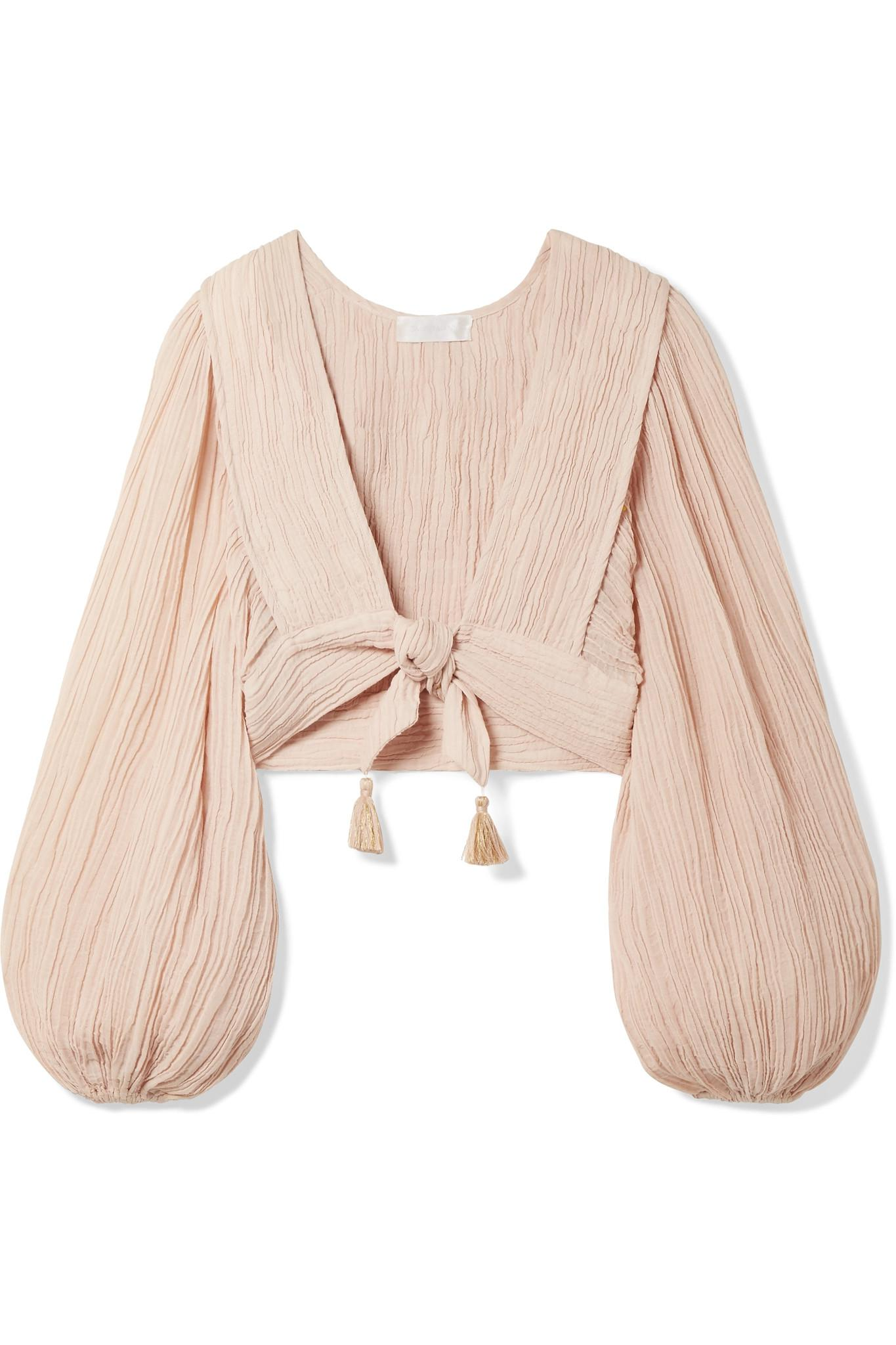 177250734 zimmermann-taupe-Bayou-Tie-front-Crinkled-Ramie-And-Cotton-blend-Top.jpeg