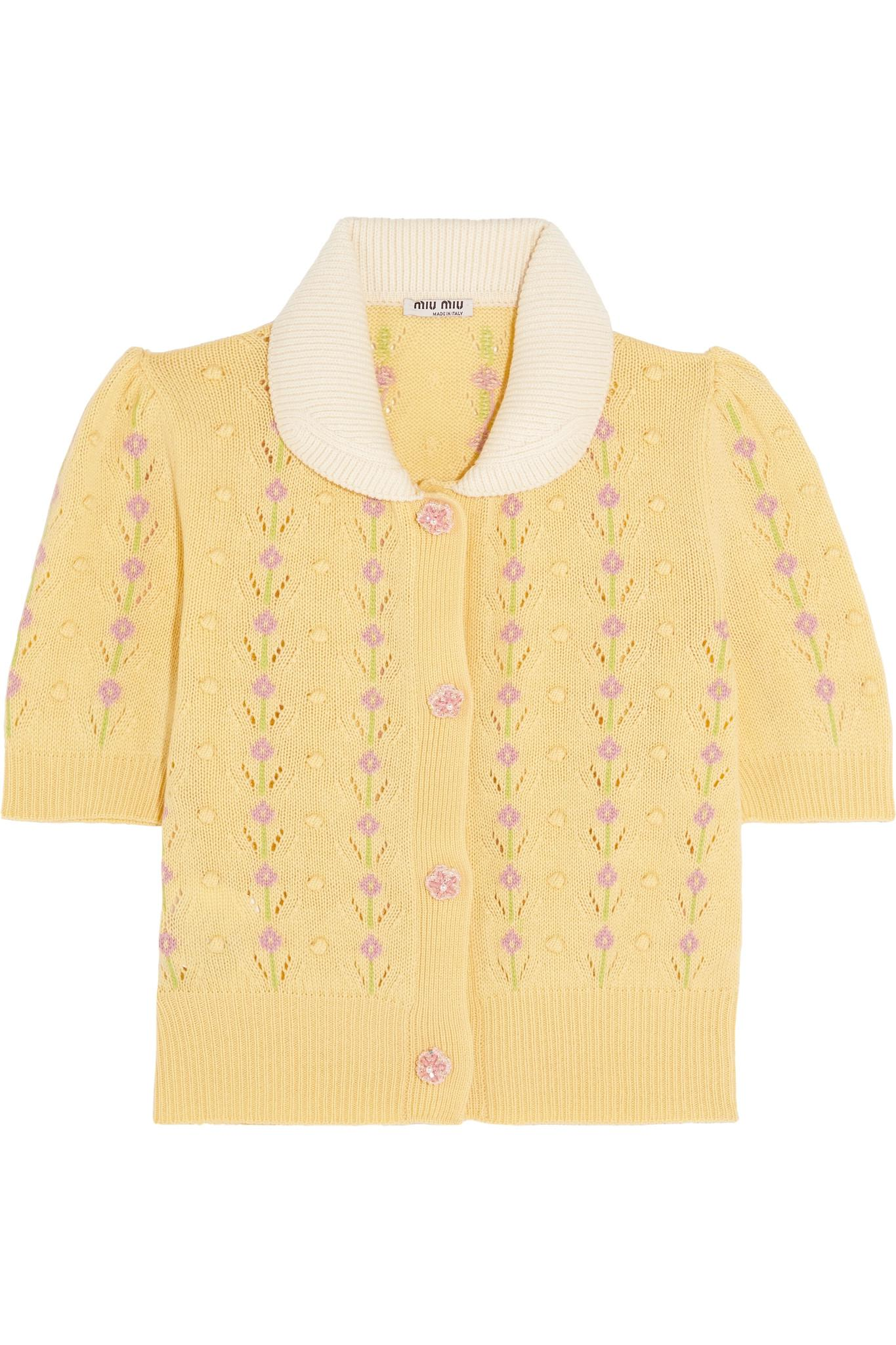f167a5b05 Miu Miu Pointelle-trimmed Cashmere Cardigan in Yellow - Lyst