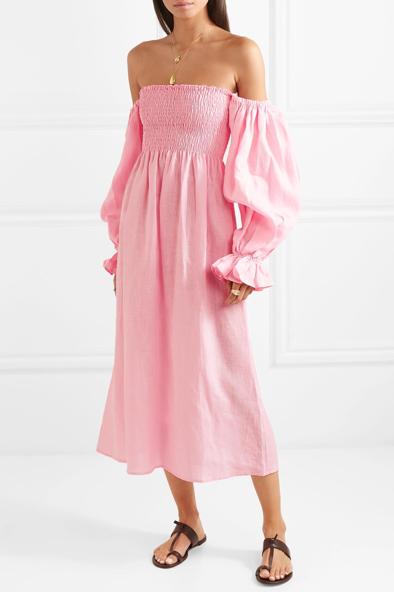 5864aba05b Sleeper - Pink Atlanta Off-the-shoulder Shirred Linen Midi Dress - Lyst.  View fullscreen