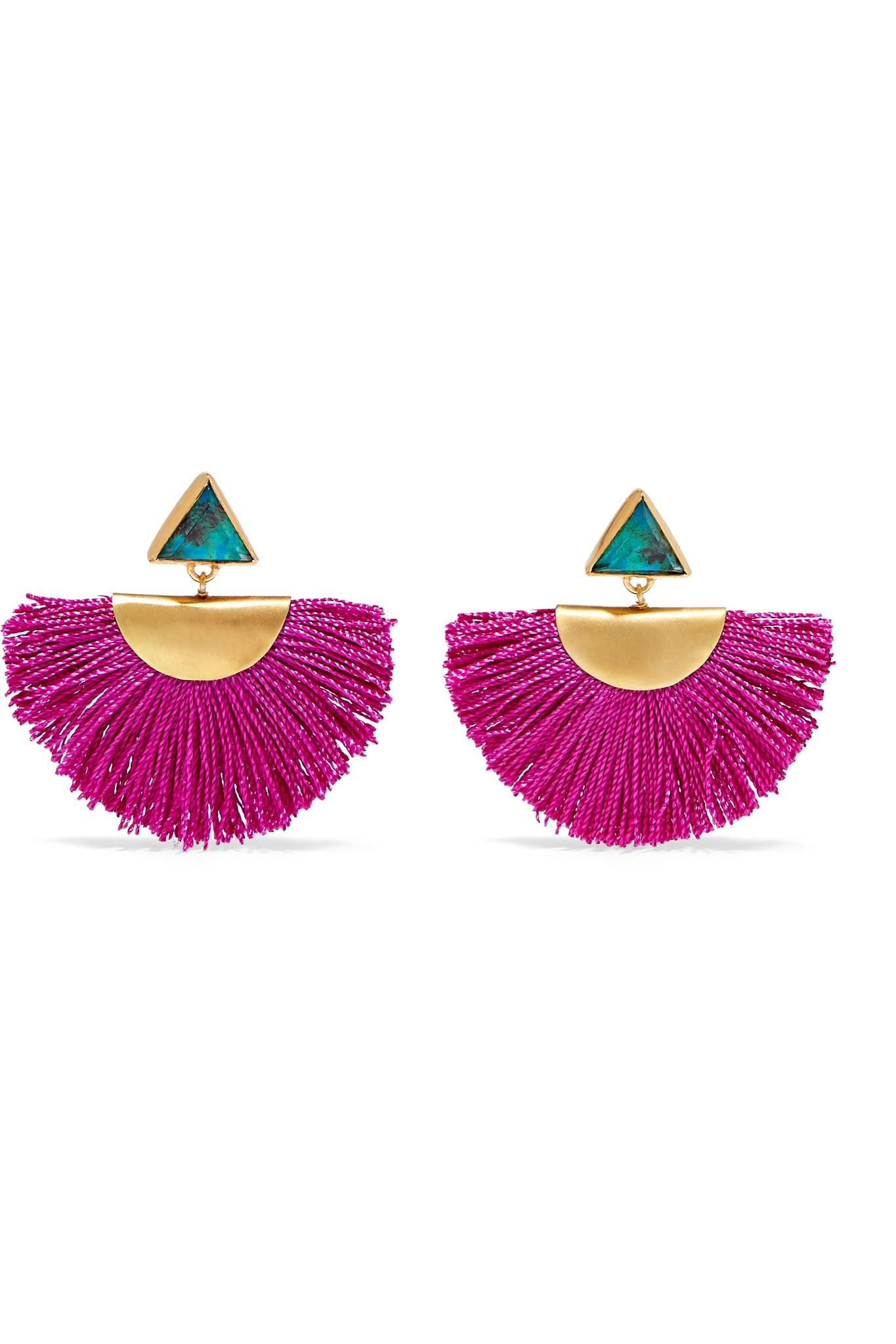 Katerina Makriyianni Fringed Gold-plated Feather Earrings - Pink PnIQrerB
