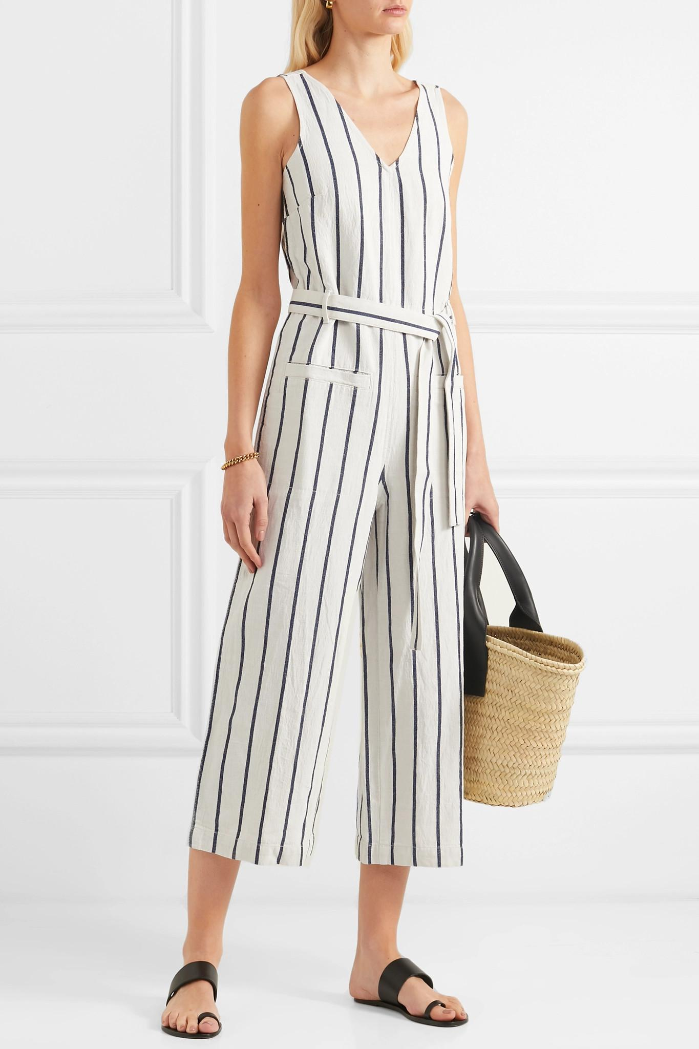 d5573dad01 Madewell - Multicolor Striped Cotton And Linen-blend Jumpsuit - Lyst. View  fullscreen