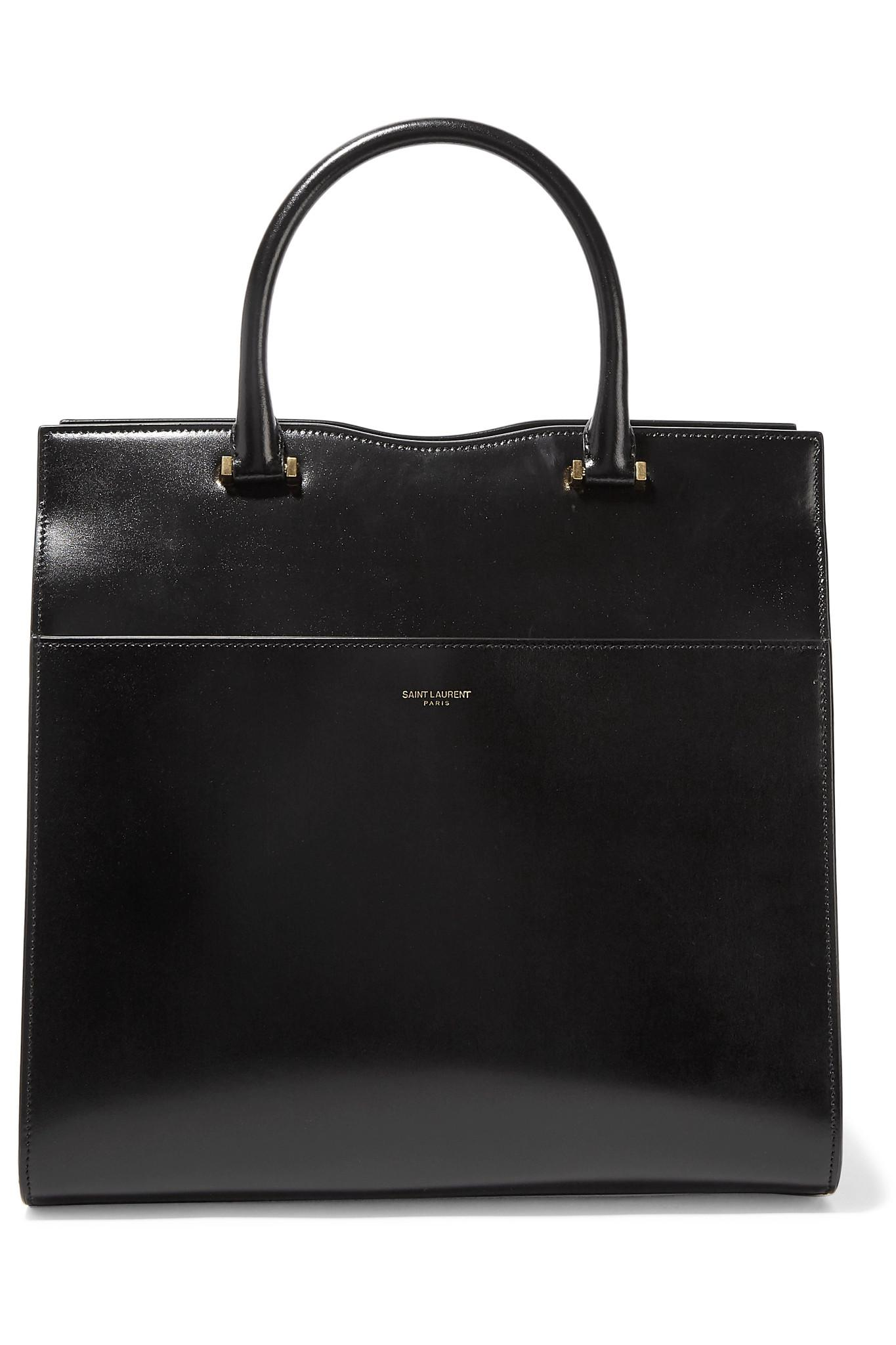 cf6f5fa8a35e Saint Laurent Cabas Uptown Glossed-leather Tote in Black - Lyst