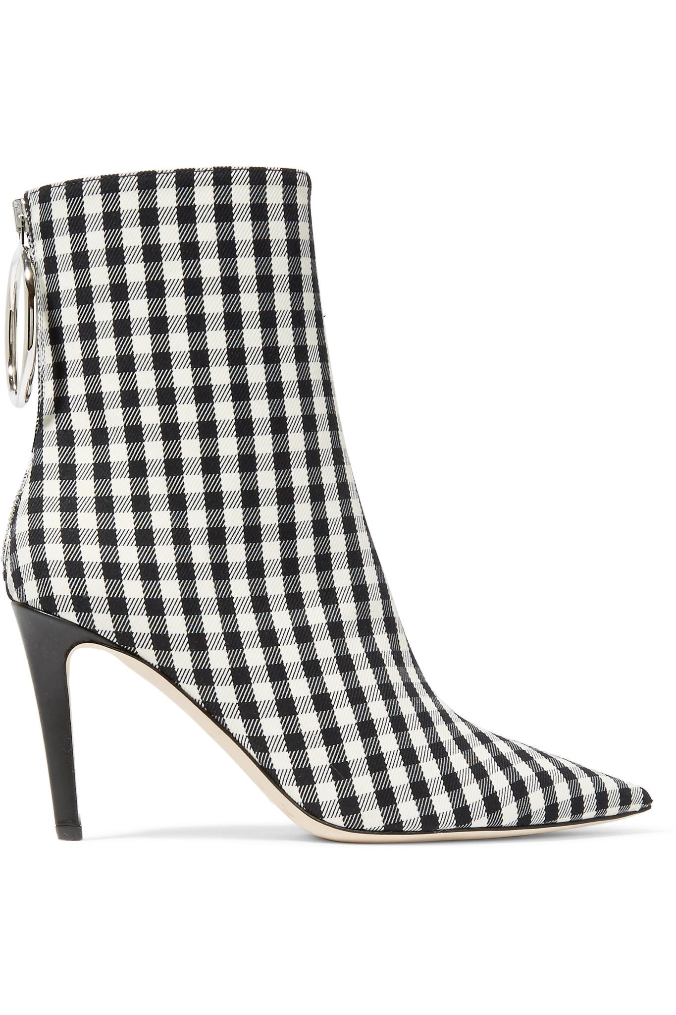 077a590f507678 Lyst - Monse Gingham Canvas Sock Boots in Black