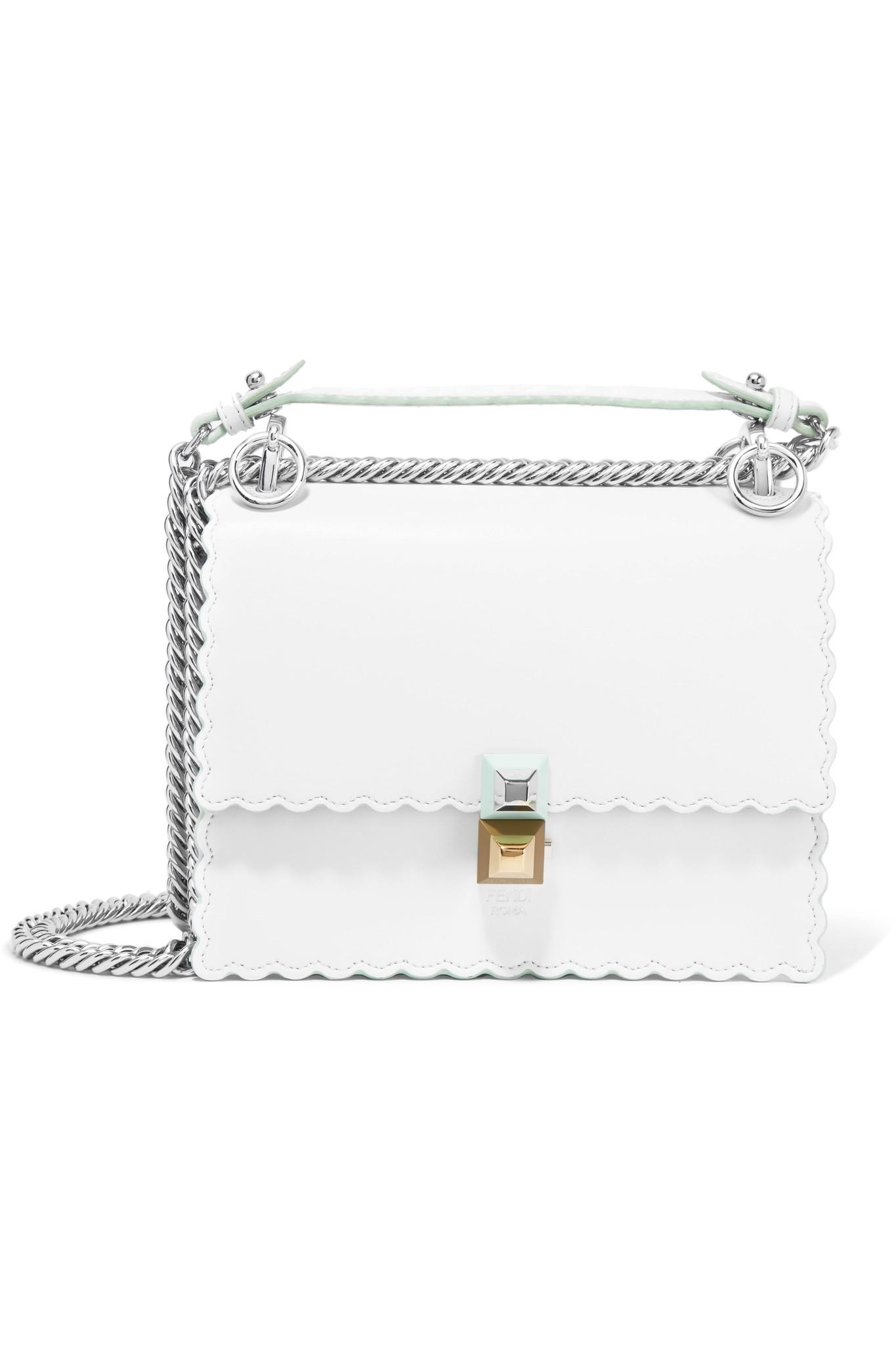 26151804 Fendi White Kan I Mini Leather Shoulder Bag