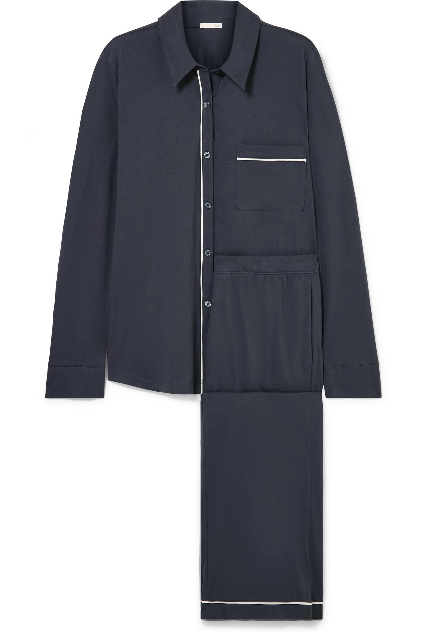 5a83f1b56 Skin Penelope Pima Cotton-jersey Pajama Set in Gray - Lyst