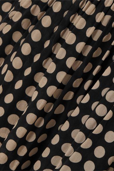 Robe Midi En Voile À Pois Et À Volants Alessia Synthétique Figue en coloris Noir