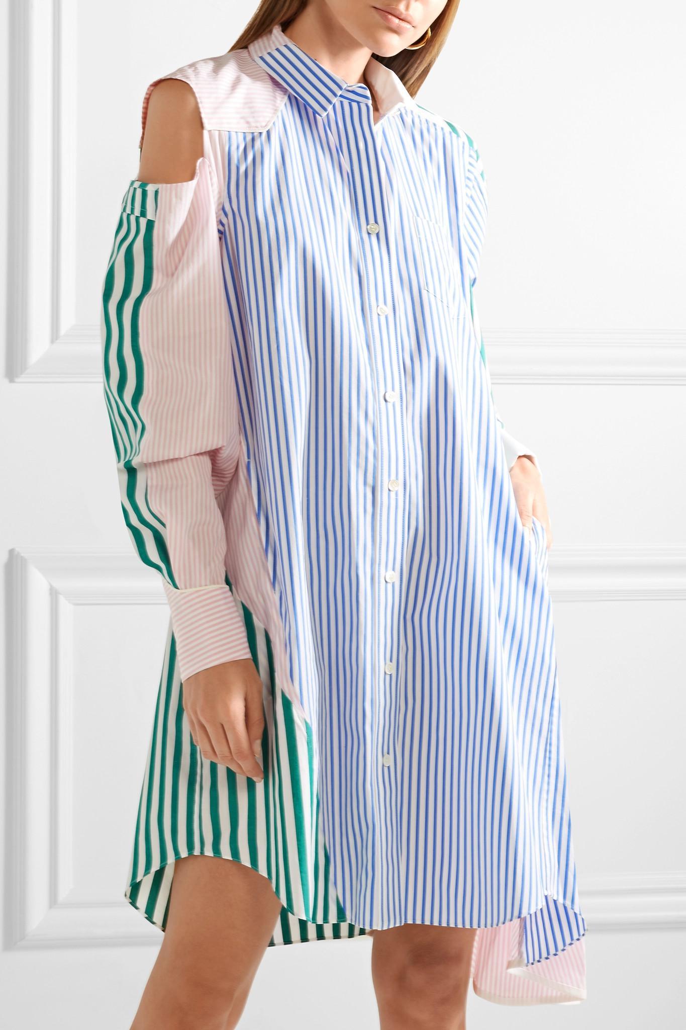 Cutout Patchwork Striped Cotton-poplin Shirt Dress - Blue sacai Sale High Quality Sale Best CjFScDIXq