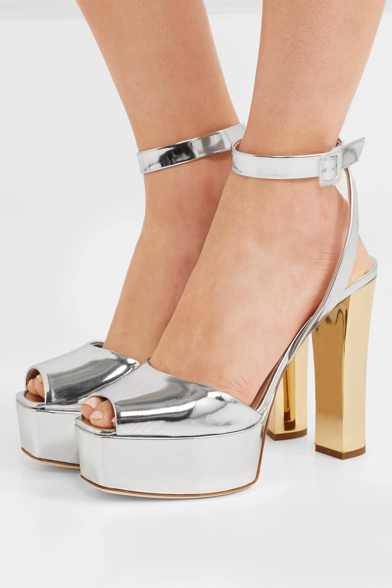5b9e83181e62 Giuseppe Zanotti - Metallic Lavinia Mirrored-leather Platform Sandals -  Lyst. View fullscreen