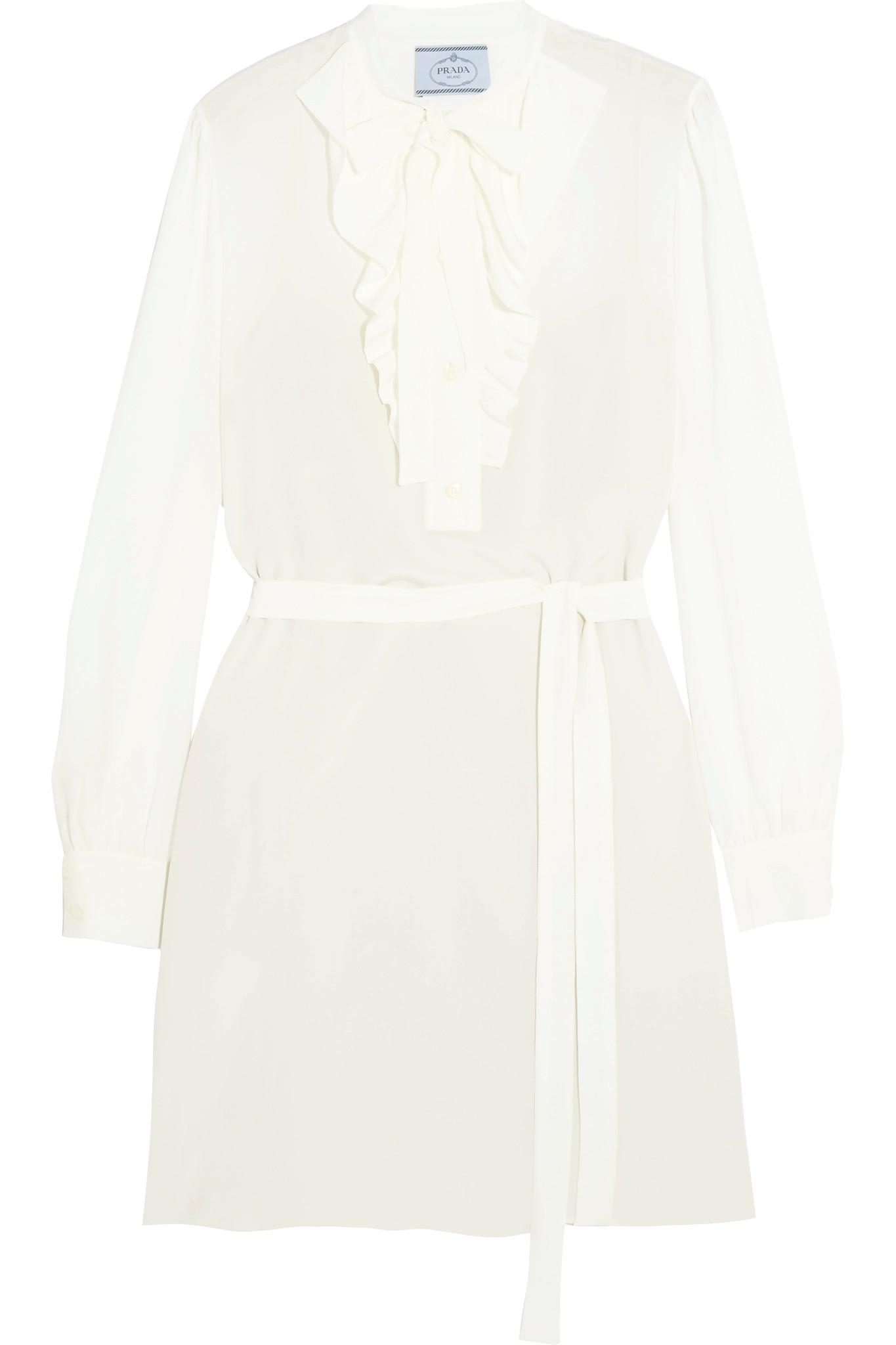 ... Pussy-bow Ruffled Silk Crepe De Chine Mini Dress - Lyst. View fullscreen