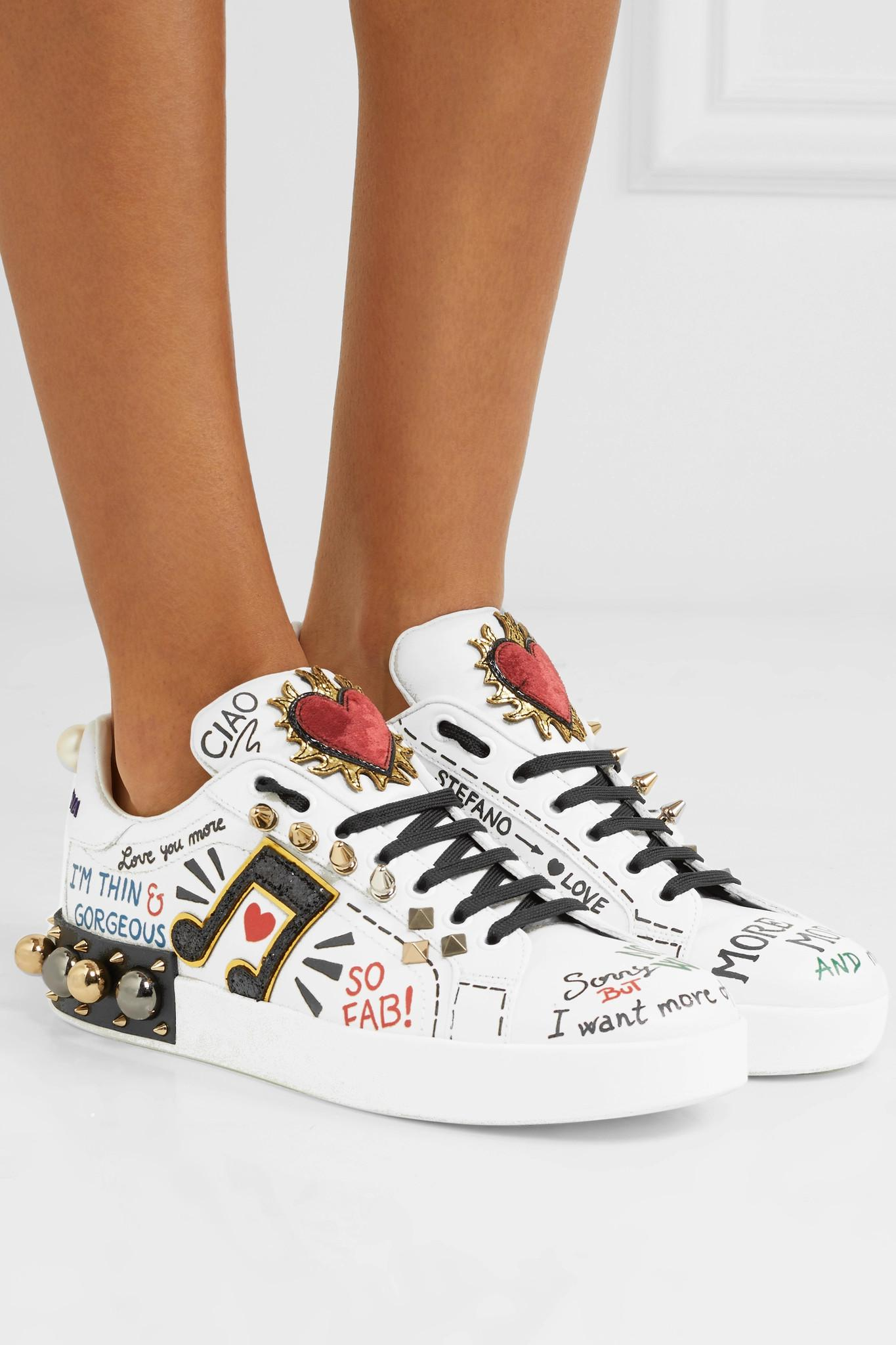 Dolce & Gabbana Embellished Printed Leather Sneakers in White