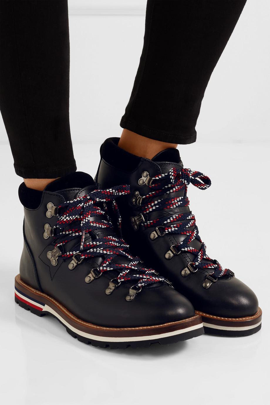 Blanche Velvet-trimmed Leather Ankle Boots - Black Moncler j4vBf