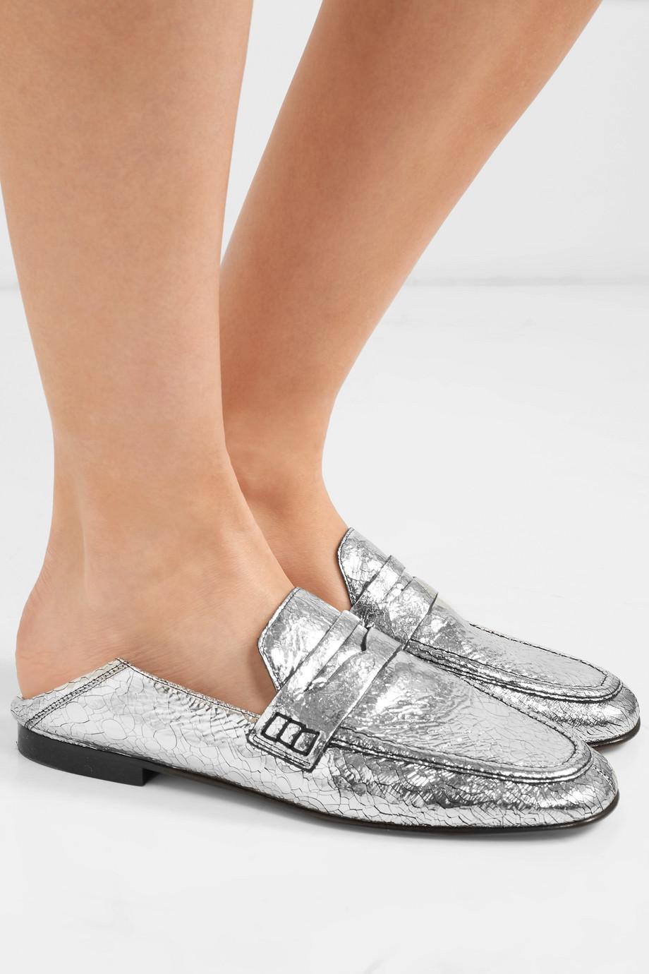 51613bd2ec2 Lyst - Isabel Marant Fezzy Collapsible-heel Metallic Cracked-leather ...