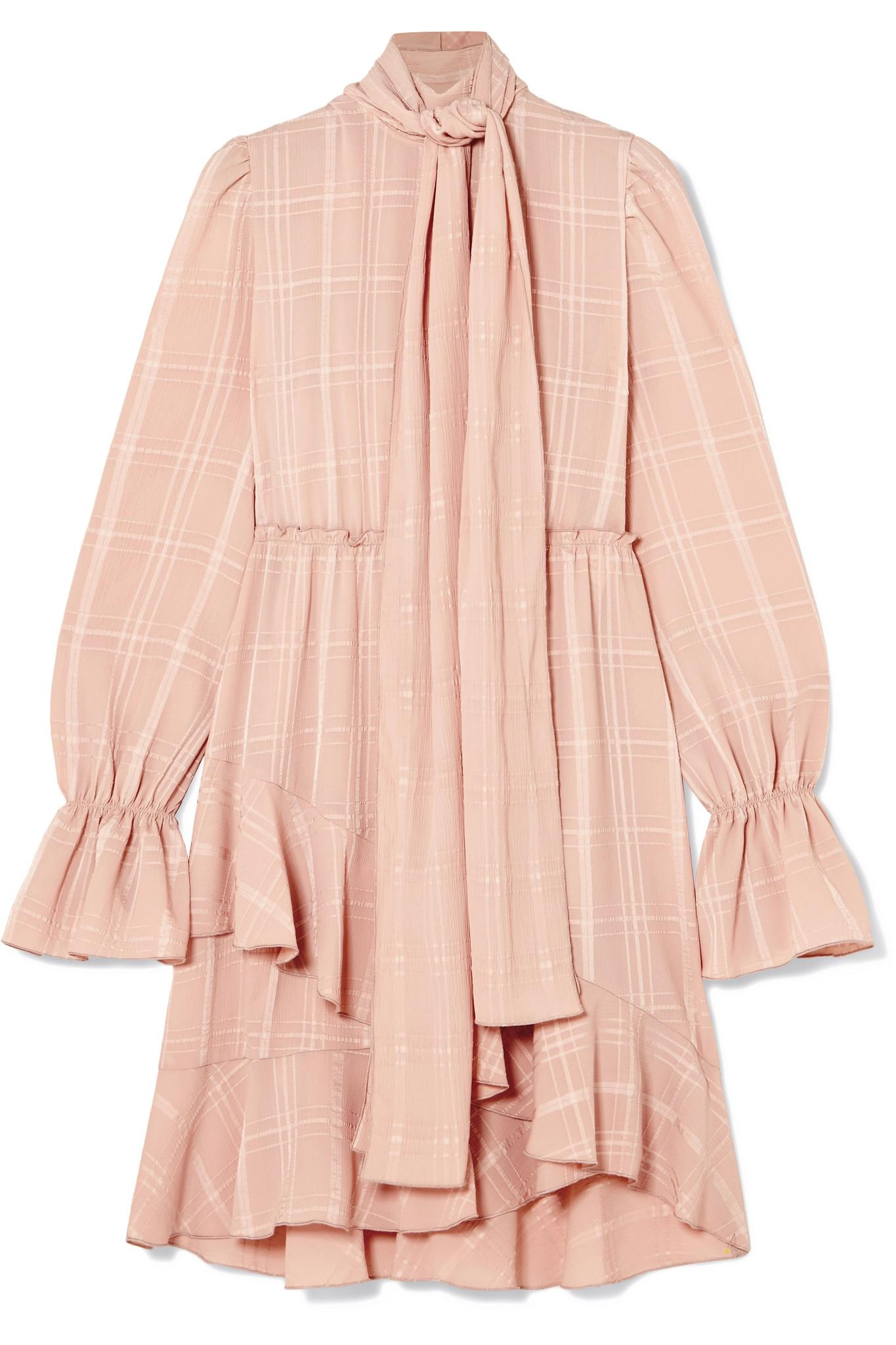 See By Chloé Tie Neck Asymmetric Plissé Crepe Dress Blush