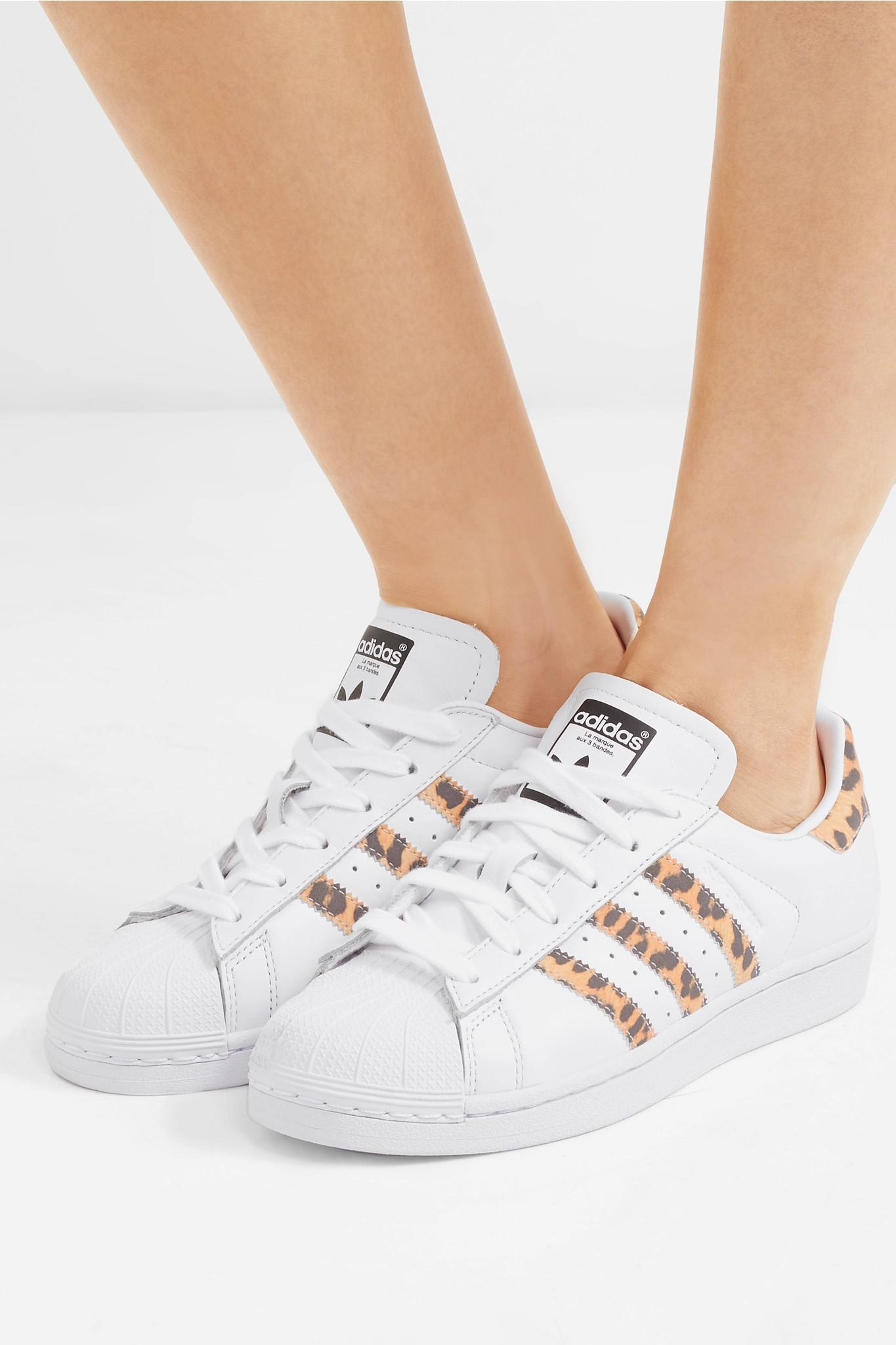 78872fc37 Adidas Originals - White Superstar Leopard Print-trimmed Leather Sneakers -  Lyst. View fullscreen