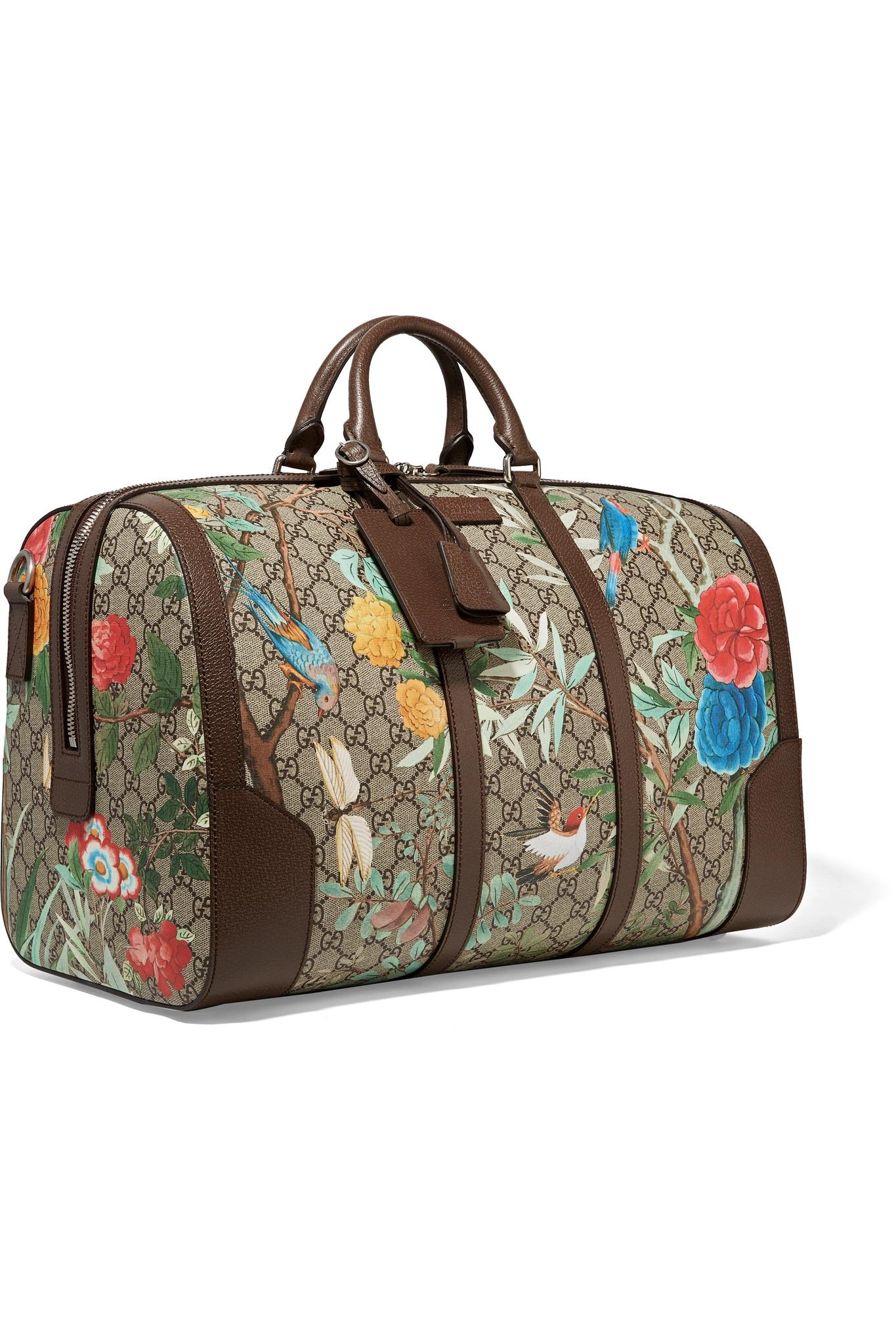 7b29d0a91ae Lyst - Gucci Leather-trimmed Printed Coated-canvas Weekend Bag in ...