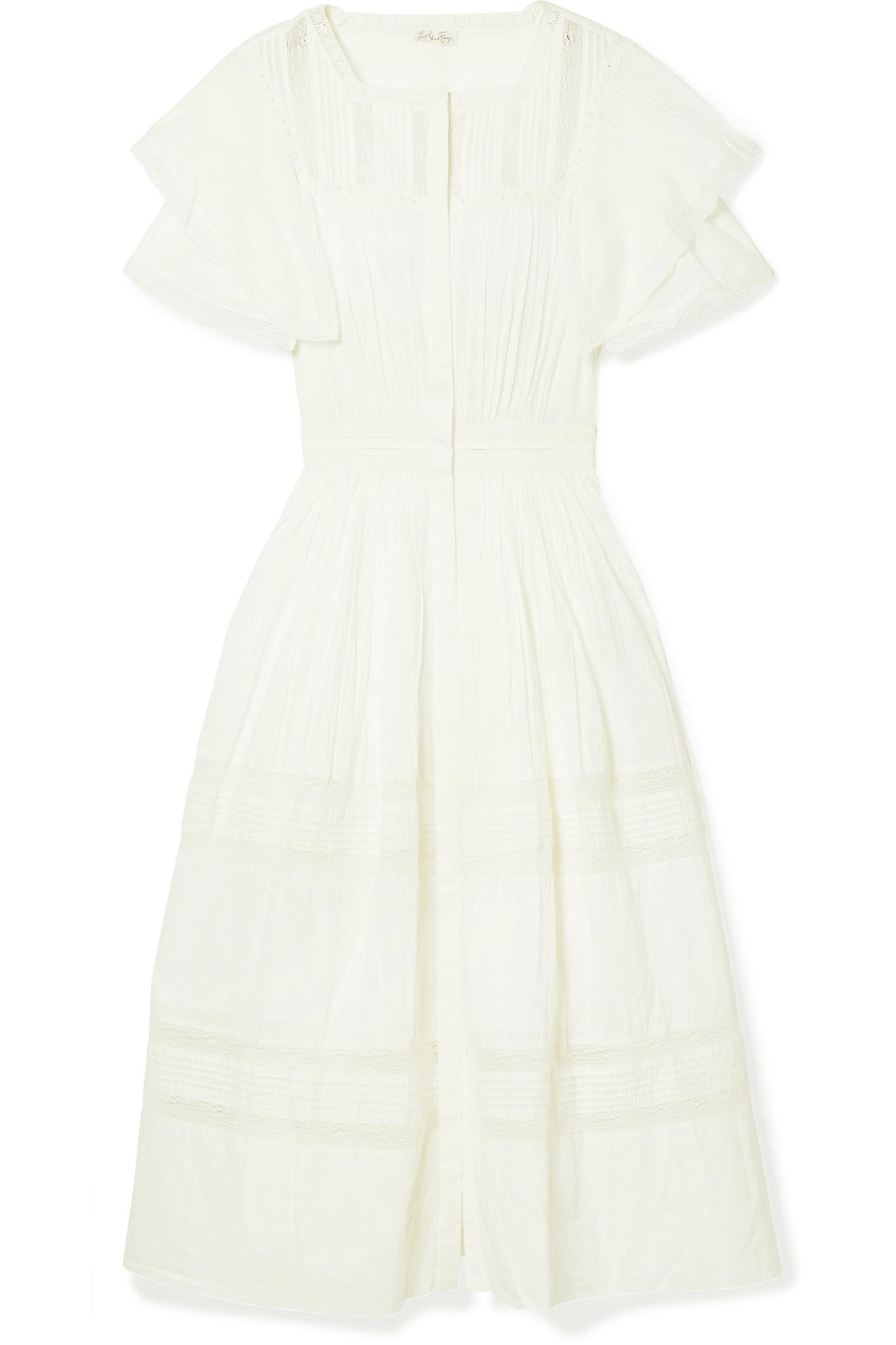 Callie Ruffled Crocheted Lace-trimmed Cotton Midi Dress - White LoveShackFancy oHY5LQlUi