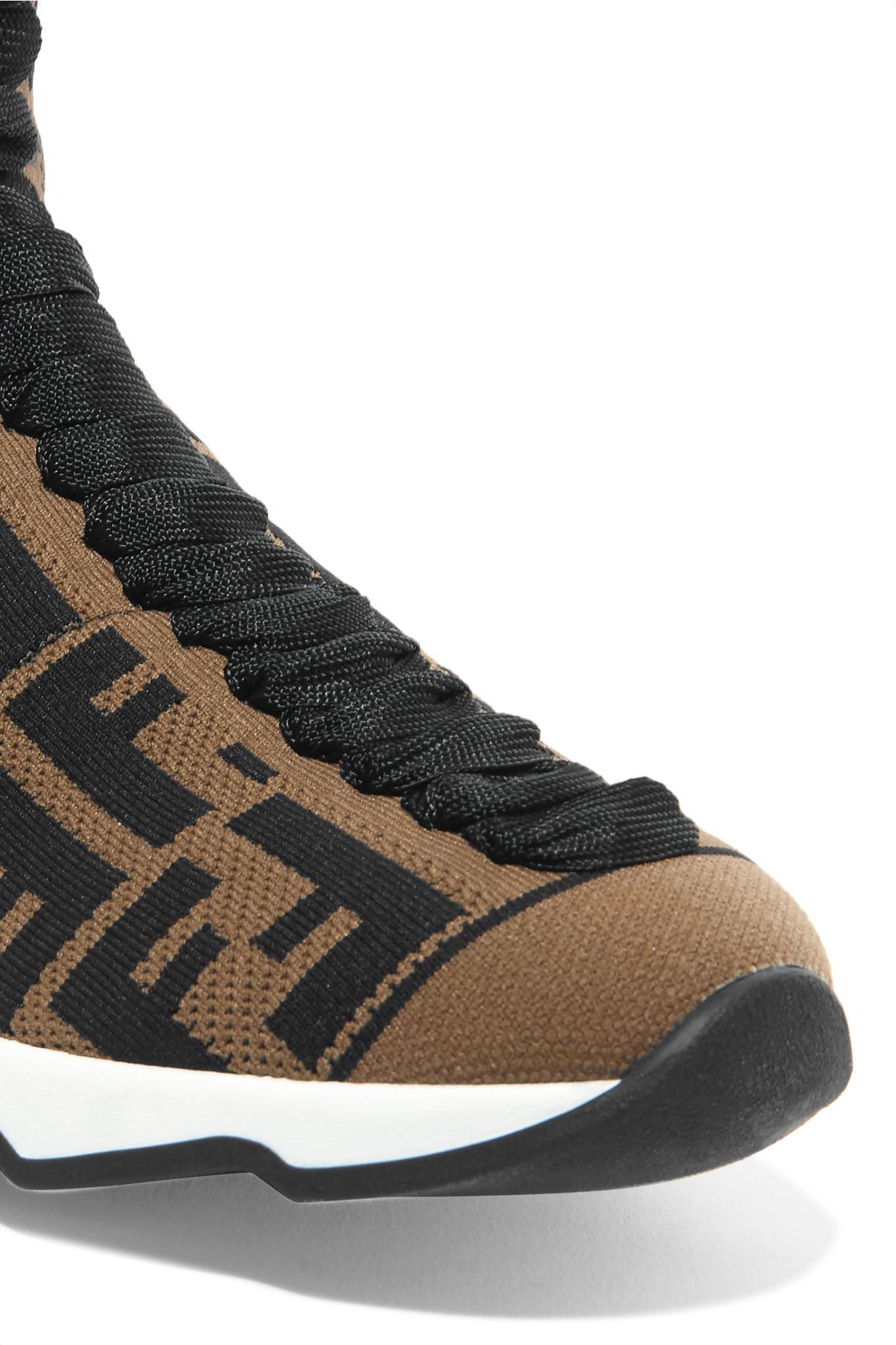 14e1a22784c Fendi Logo-jacquard Stretch-knit And Mesh Sneakers - Lyst